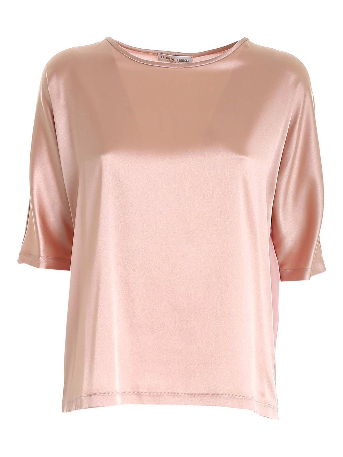 Le Tricot Perugia Silks SATIN STRETCH BLOUSE IN PINK