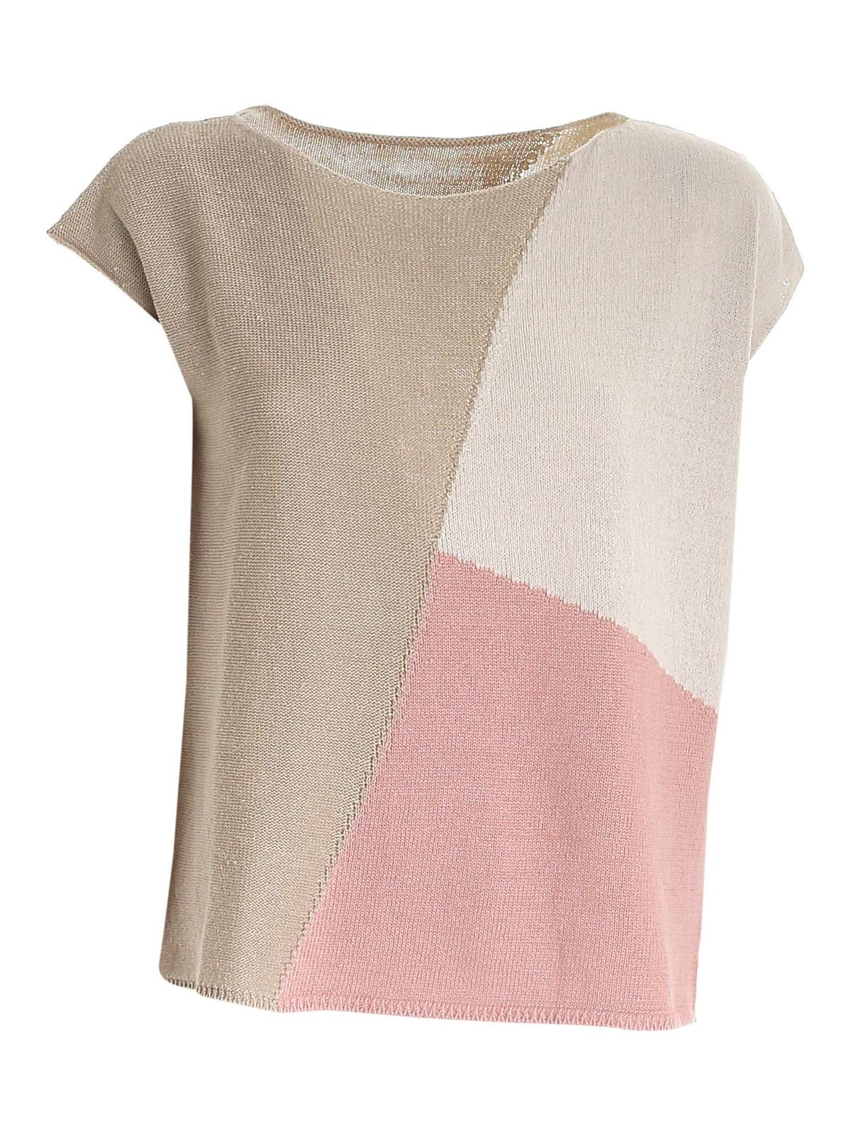Le Tricot Perugia Cottons COLORBLOCK SLEEVELESS SWEATER