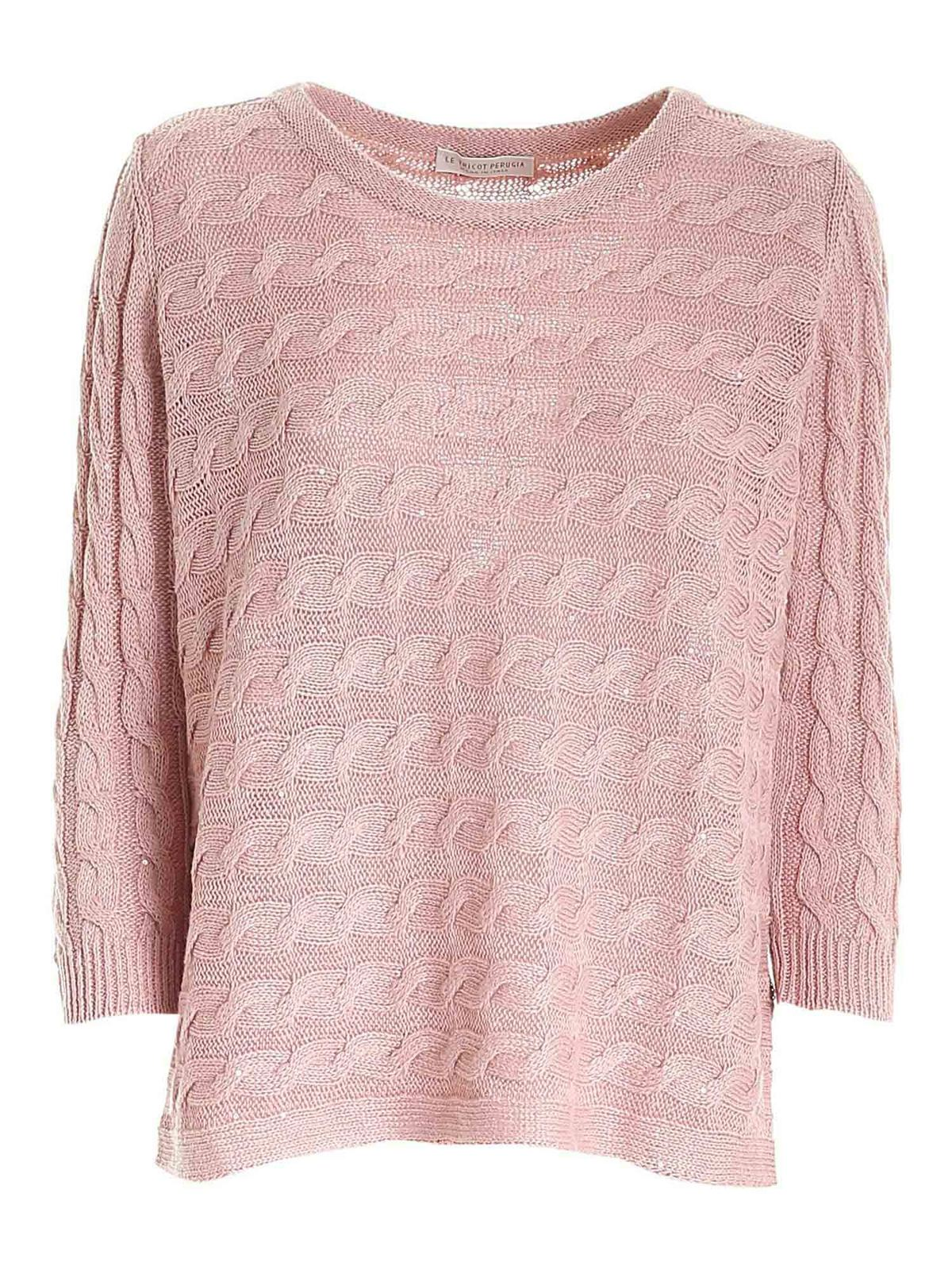 Le Tricot Perugia Cottons MICRO SEQUIN SWEATER IN PINK