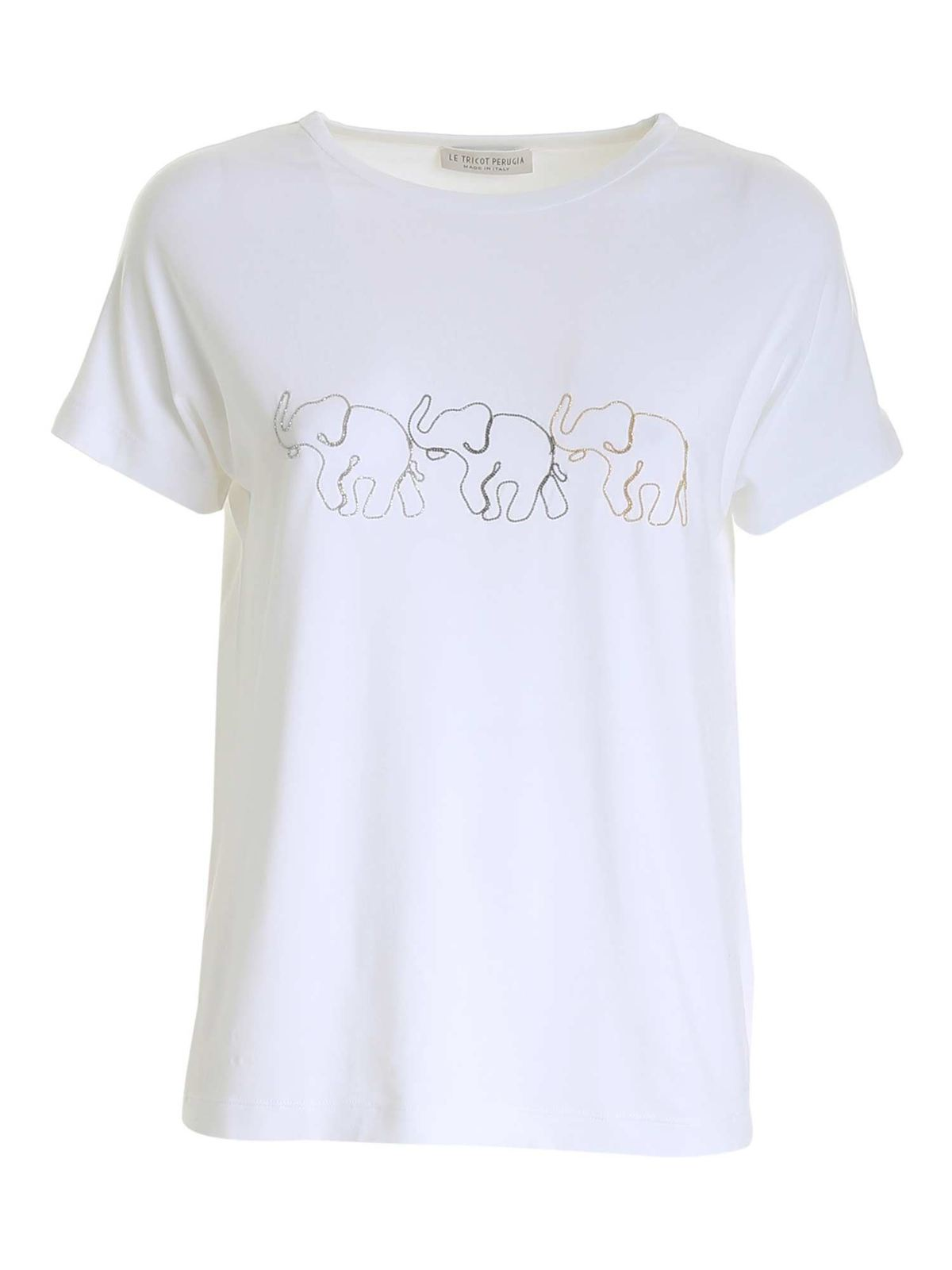 Le Tricot Perugia T-shirts MICRO BEADS EMBROIDERY T-SHIRT IN WHITE