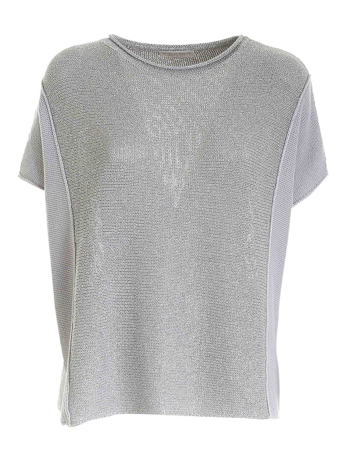 Le Tricot Perugia Blouses LAME DETAIL SWEATER IN GREY