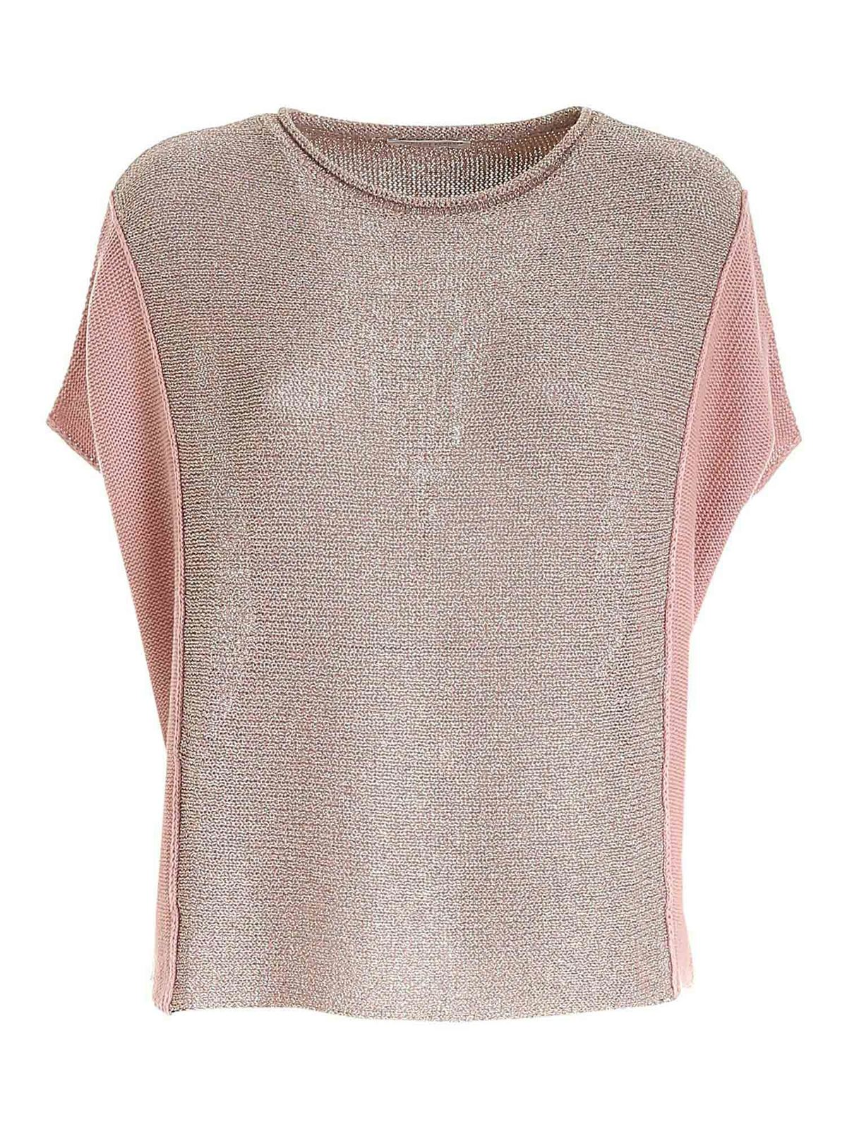 Le Tricot Perugia LAME DETAIL SWEATER IN PINK