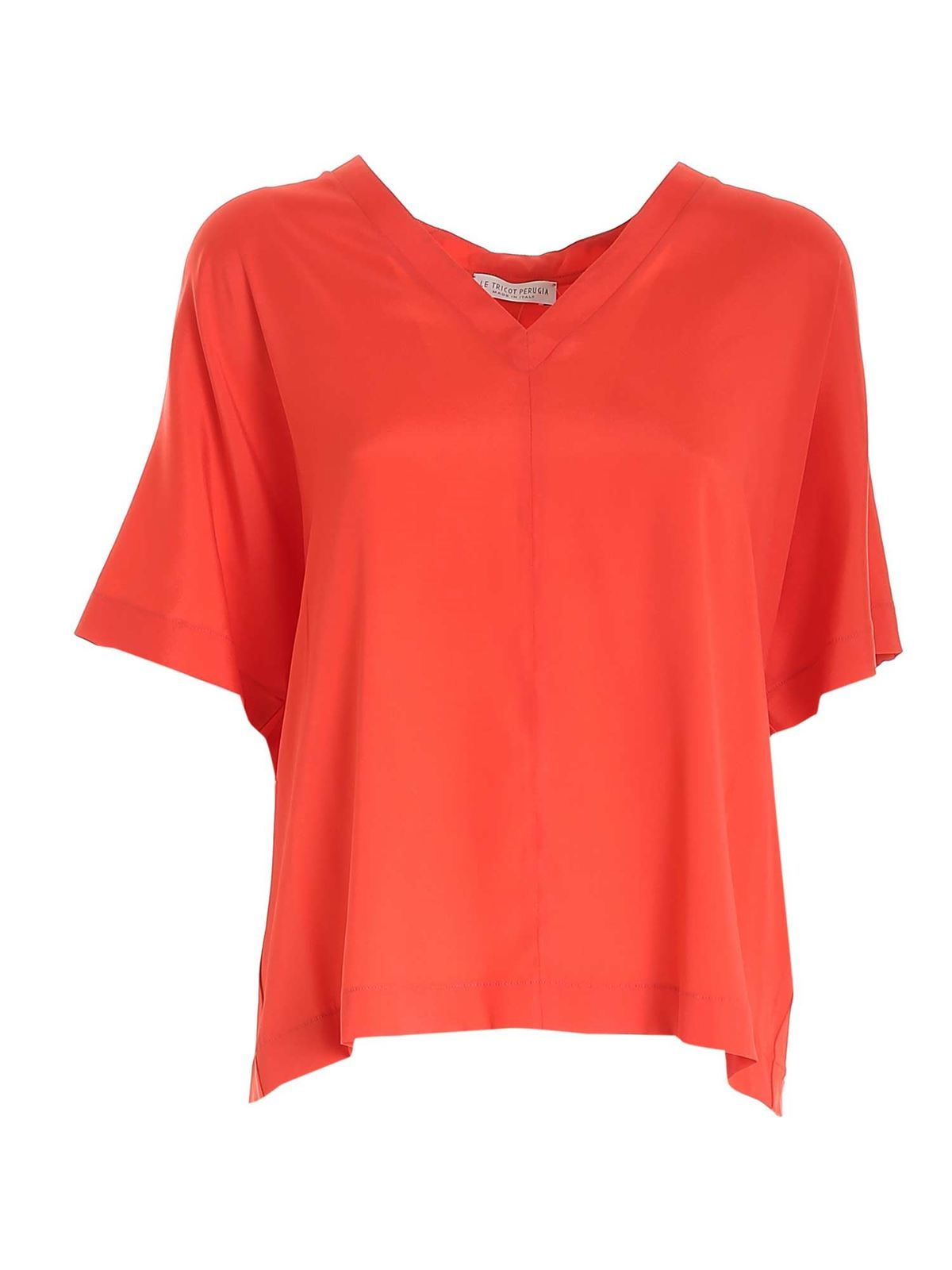 Le Tricot Perugia Blouses BOXY T-SHIRT IN CORAL RED