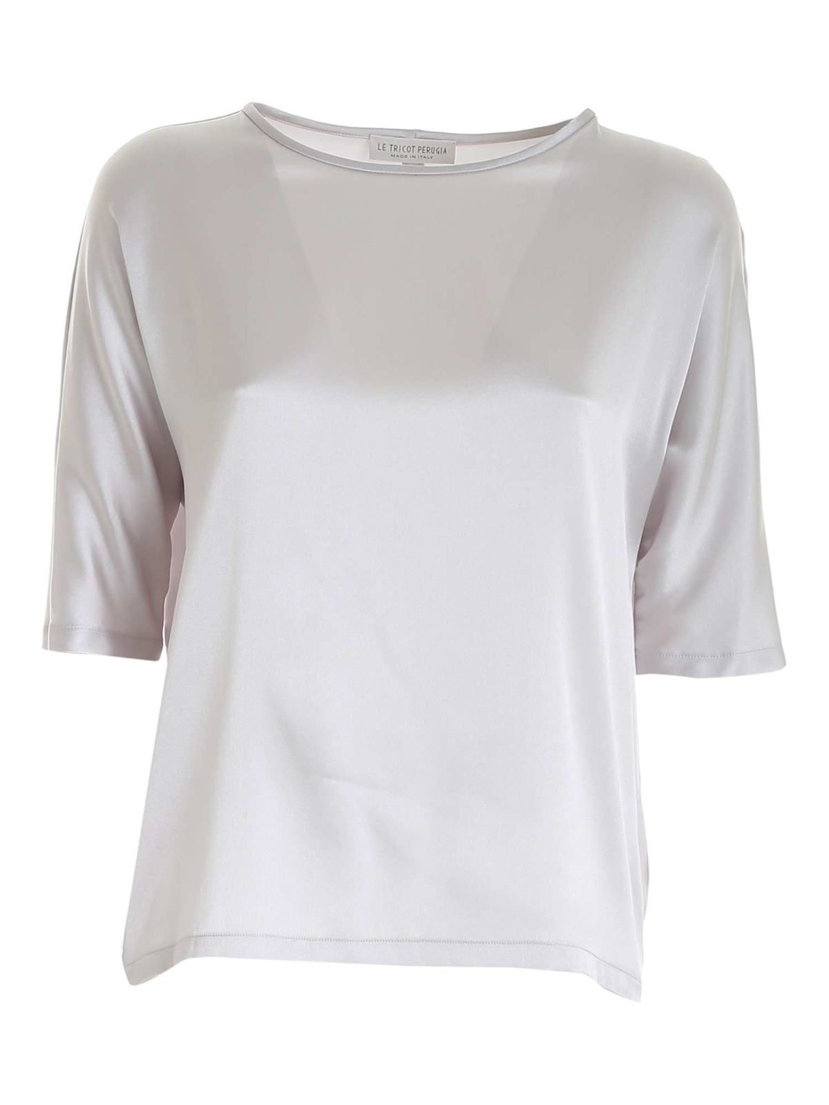 Le Tricot Perugia STRETCH SATIN BLOUSE IN PEARL GREY