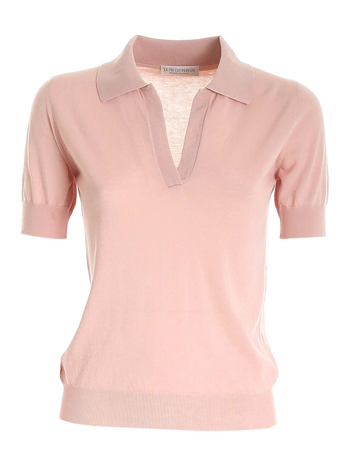 Le Tricot Perugia COTTON SWEATER IN PINK