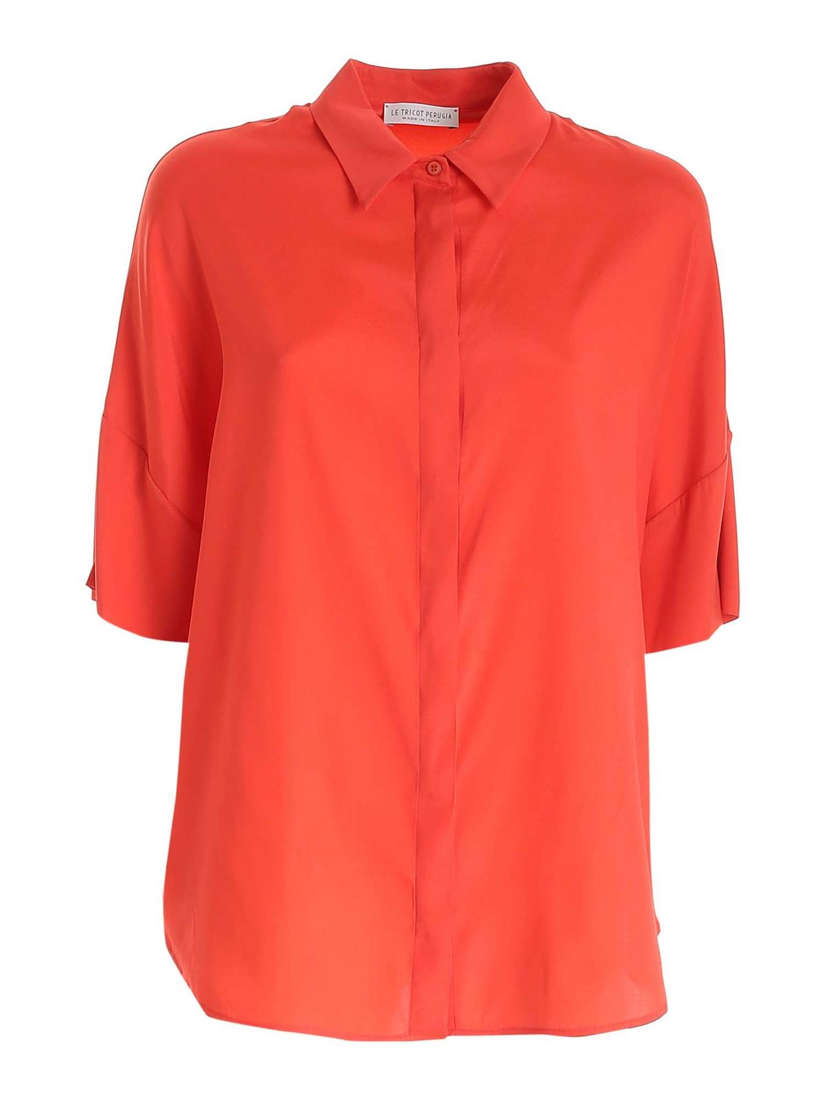 Le Tricot Perugia Silks CORAL RED SHIRT