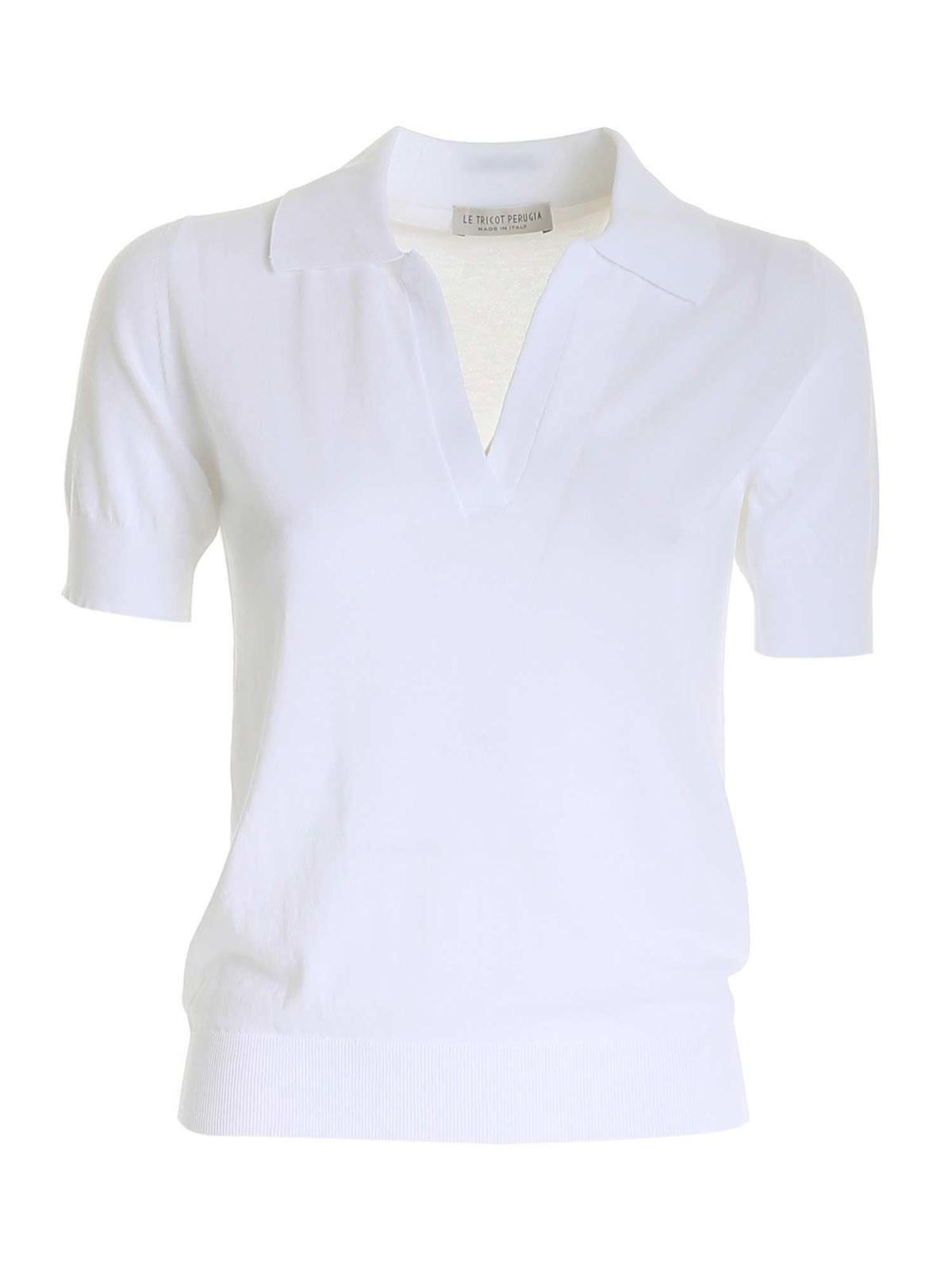 Le Tricot Perugia Cottons COTTON SWEATER IN WHITE