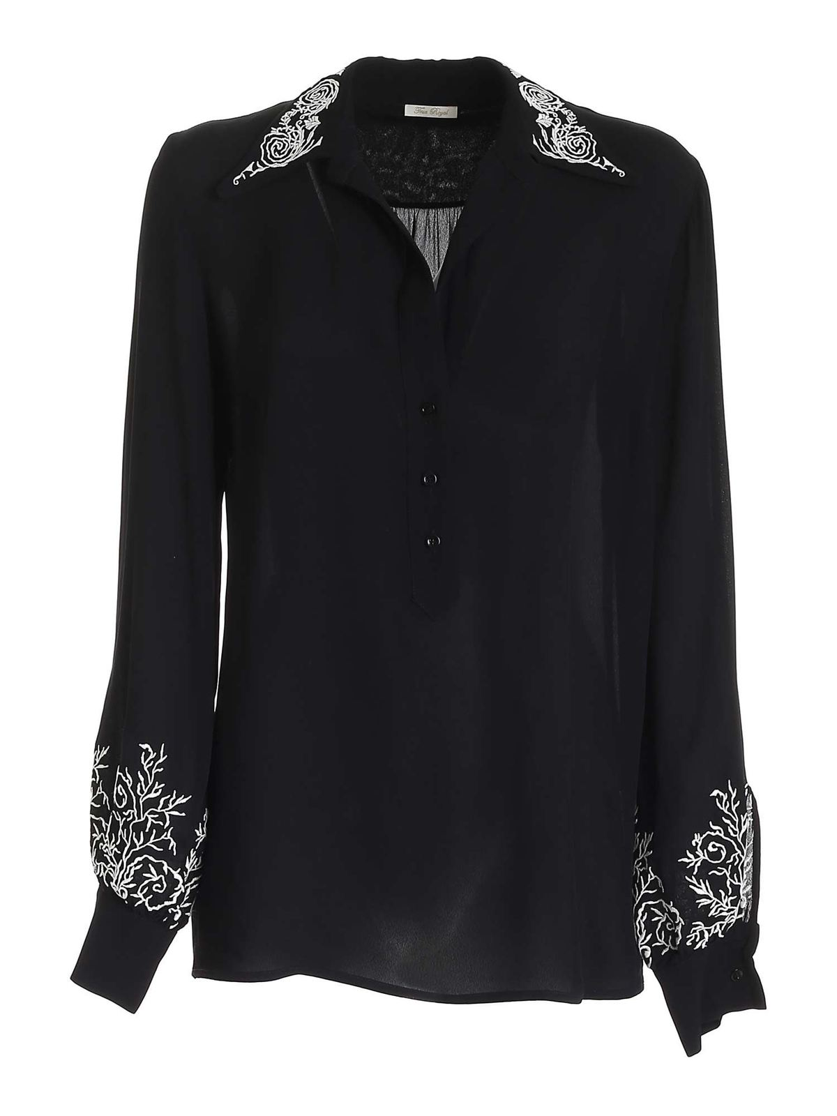 True Royal FLORAL EMBROIDERY BLOUSE IN BLACK