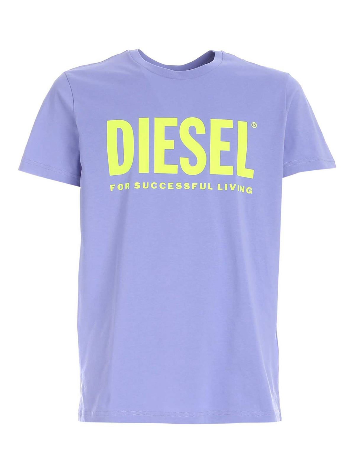 Diesel Cottons T-DIEGO T-SHIRT IN PURPLE AND GREEN
