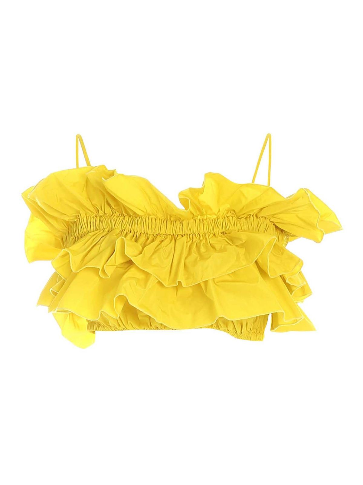 Msgm Clothing RUFFLES TOP IN YELLOW