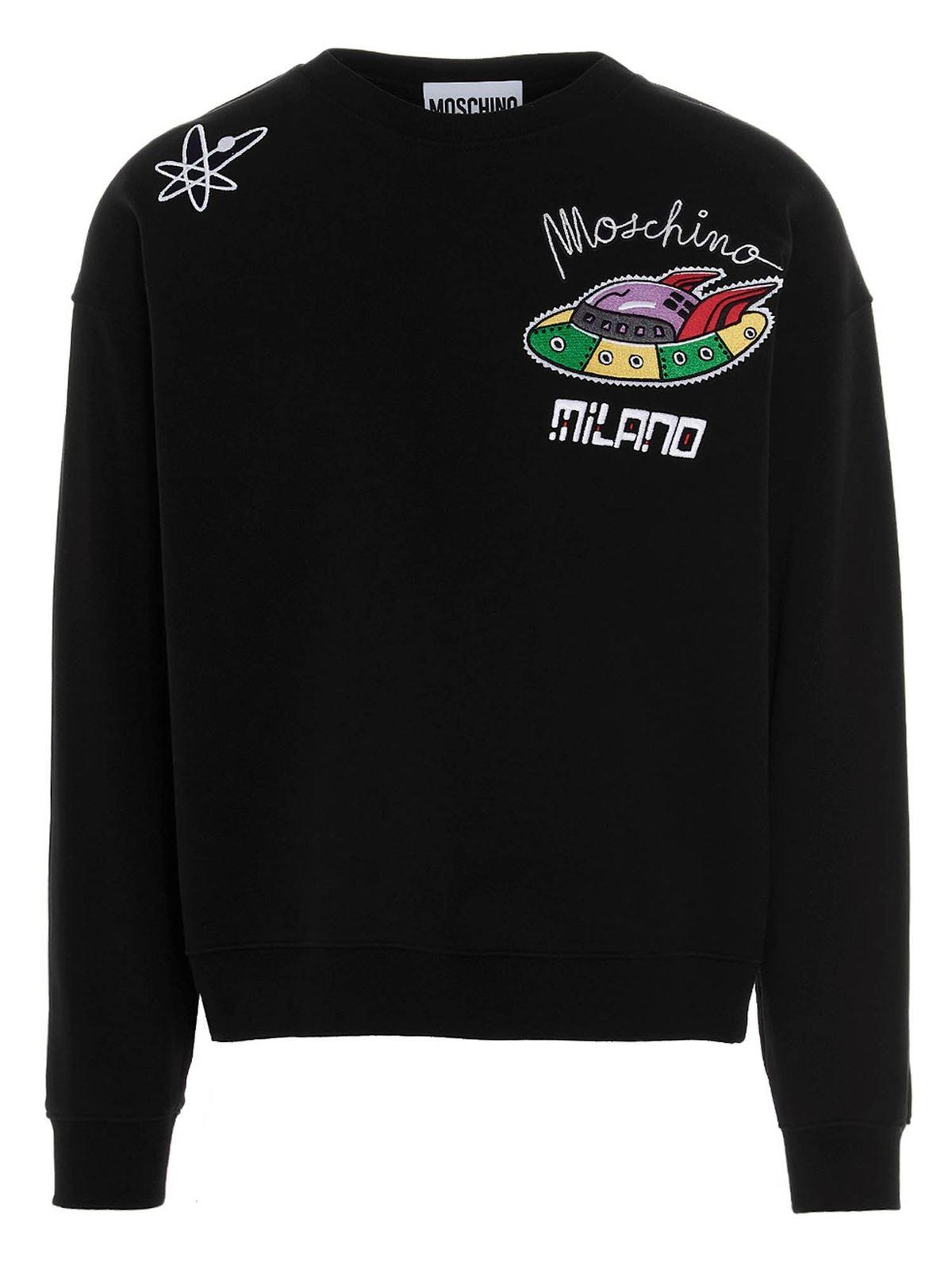 Moschino Cottons GALAXY SWEATSHIRT IN BLACK