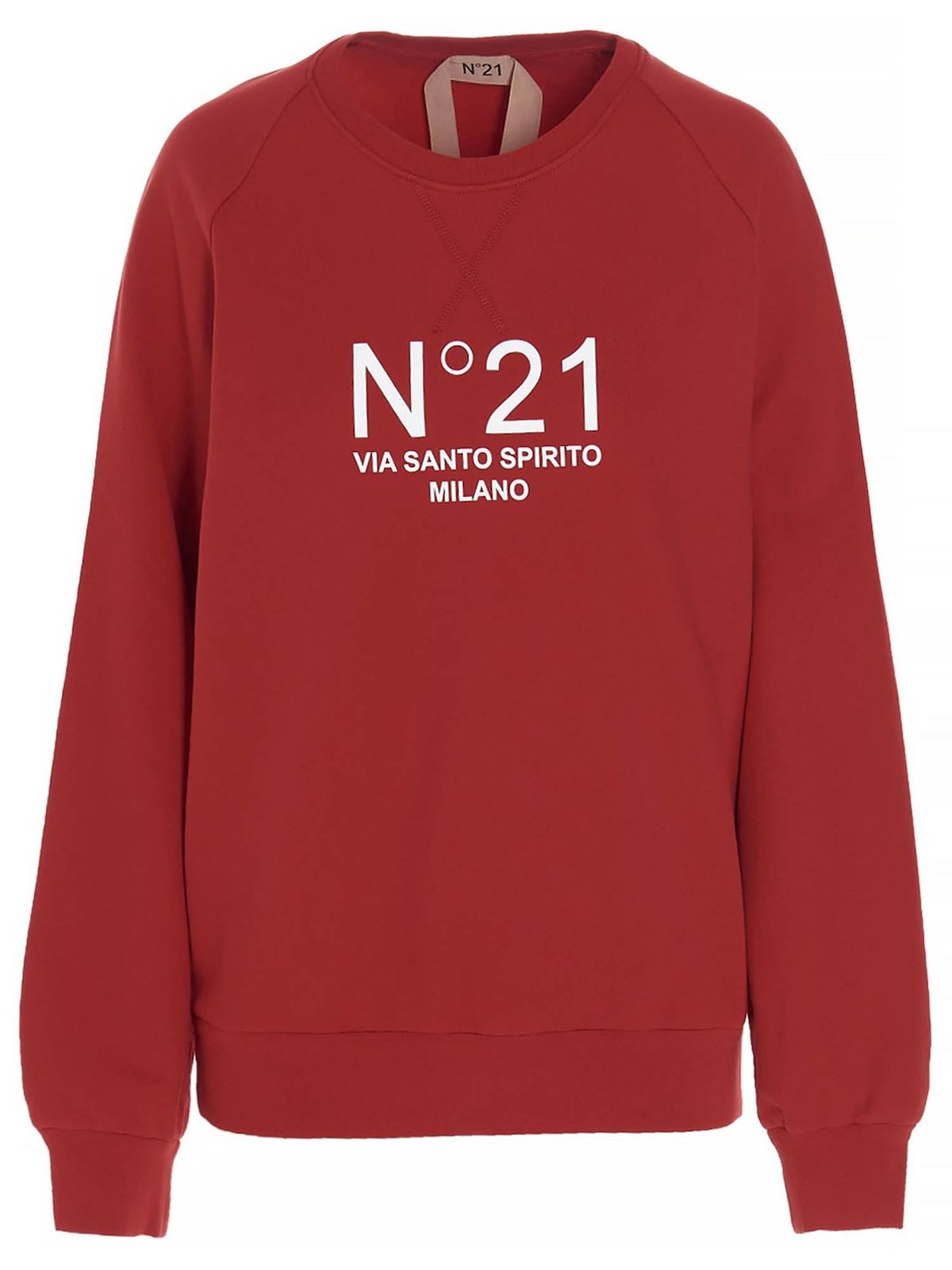 N°21 CONTRASTING LOGO PRINT SWEATSHIRT IN RED