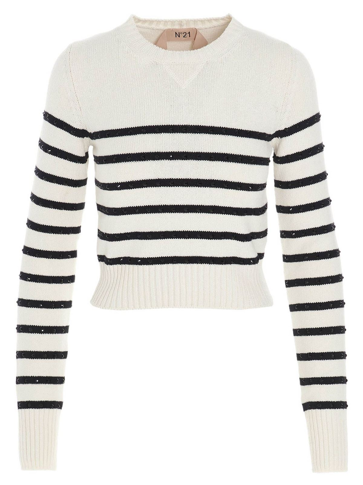 N°21 STRIPED CRYSTALS SWEATER IN BLACK AND WHITE