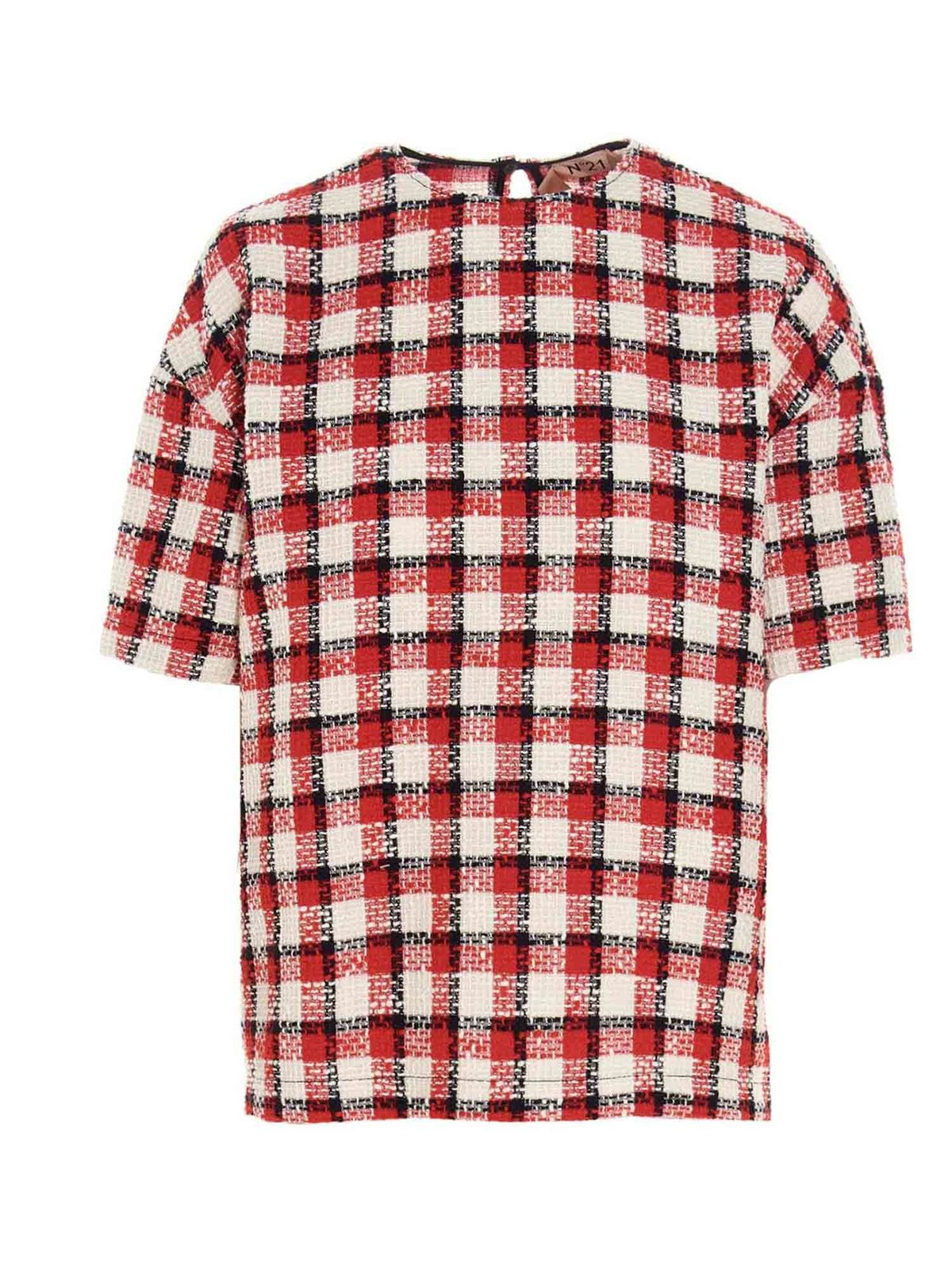N°21 CHECKED TWEED T-SHIRT IN RED