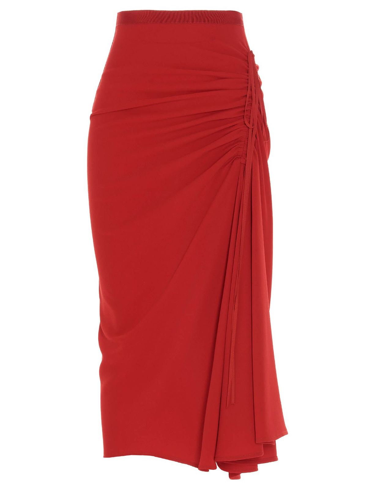 N°21 DRAWSTRING PENCIL SKIRT IN RED