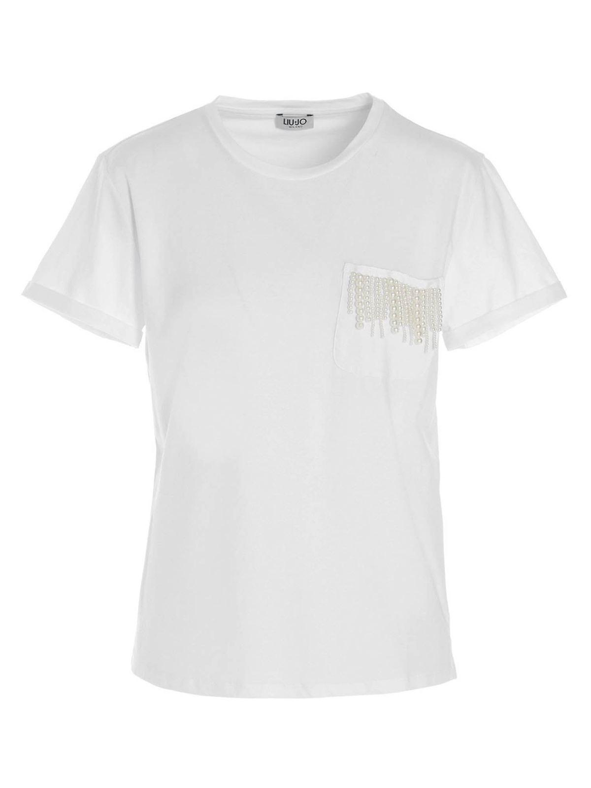 Liu •jo PEARL POCKET T-SHIRT IN WHITE