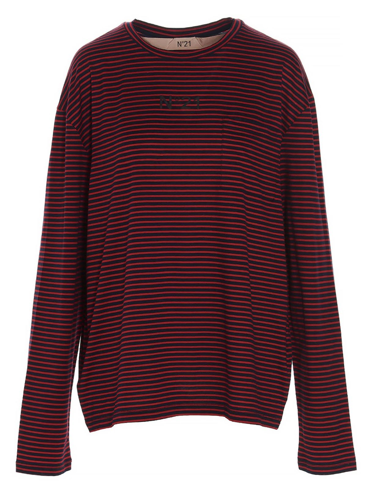 N°21 Cottons LOGO STRIPED T-SHIRT IN RED AND BLACK