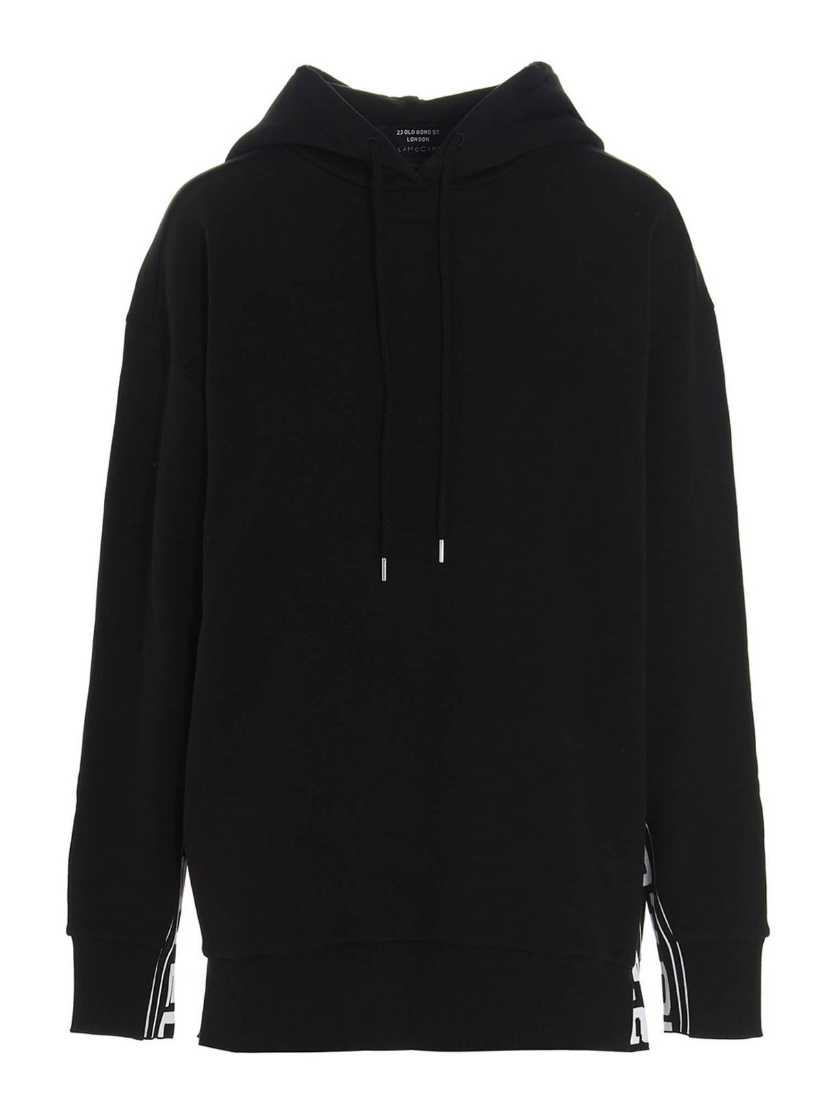 Stella Mccartney LOGO BAND HOODIE IN BLACK