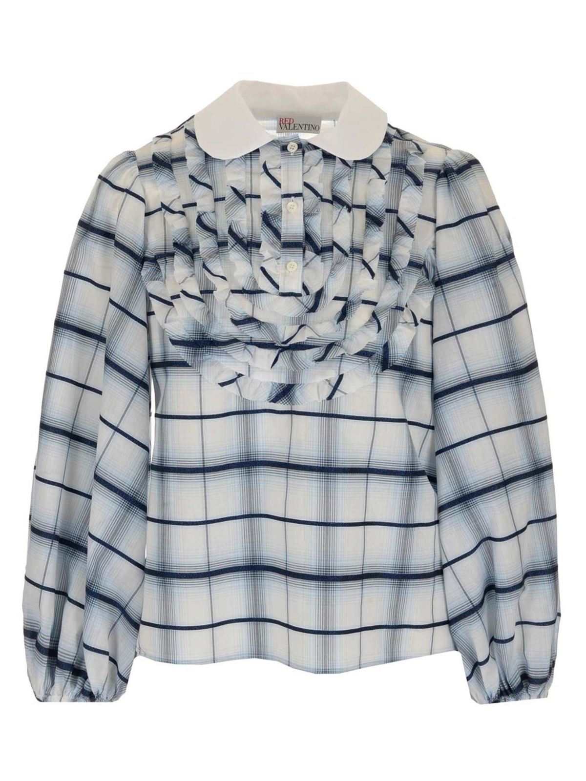 Red Valentino CHECKED SHIRT IN LIGHT BLUE