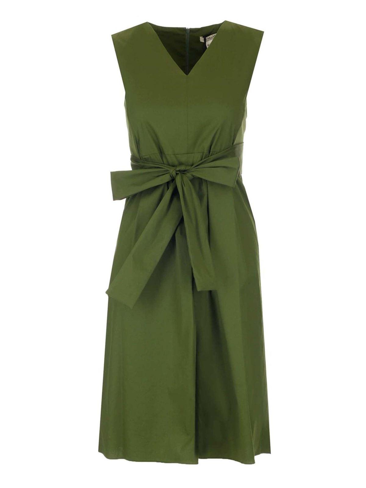 Max Mara Cottons ESTREMO SLEEVELESS DRESS IN GREEN