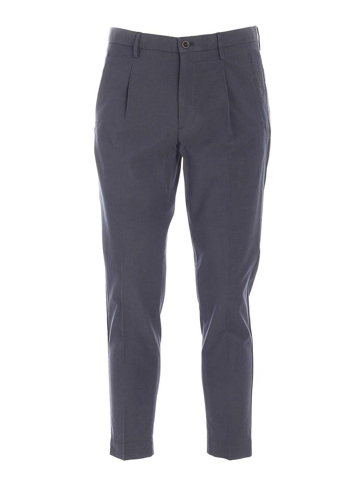 Incotex Tucks Pants In Melange Blue