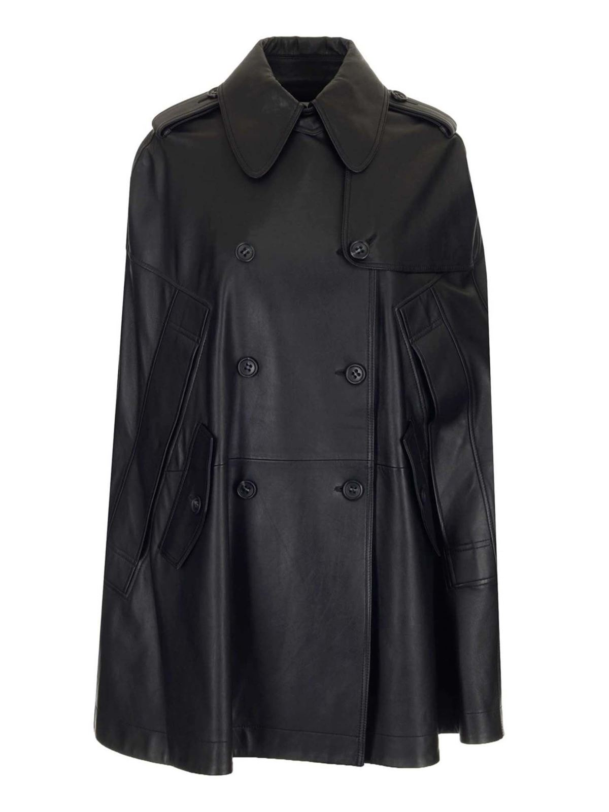 Red Valentino Leathers LEATHER CAPE IN BLACK