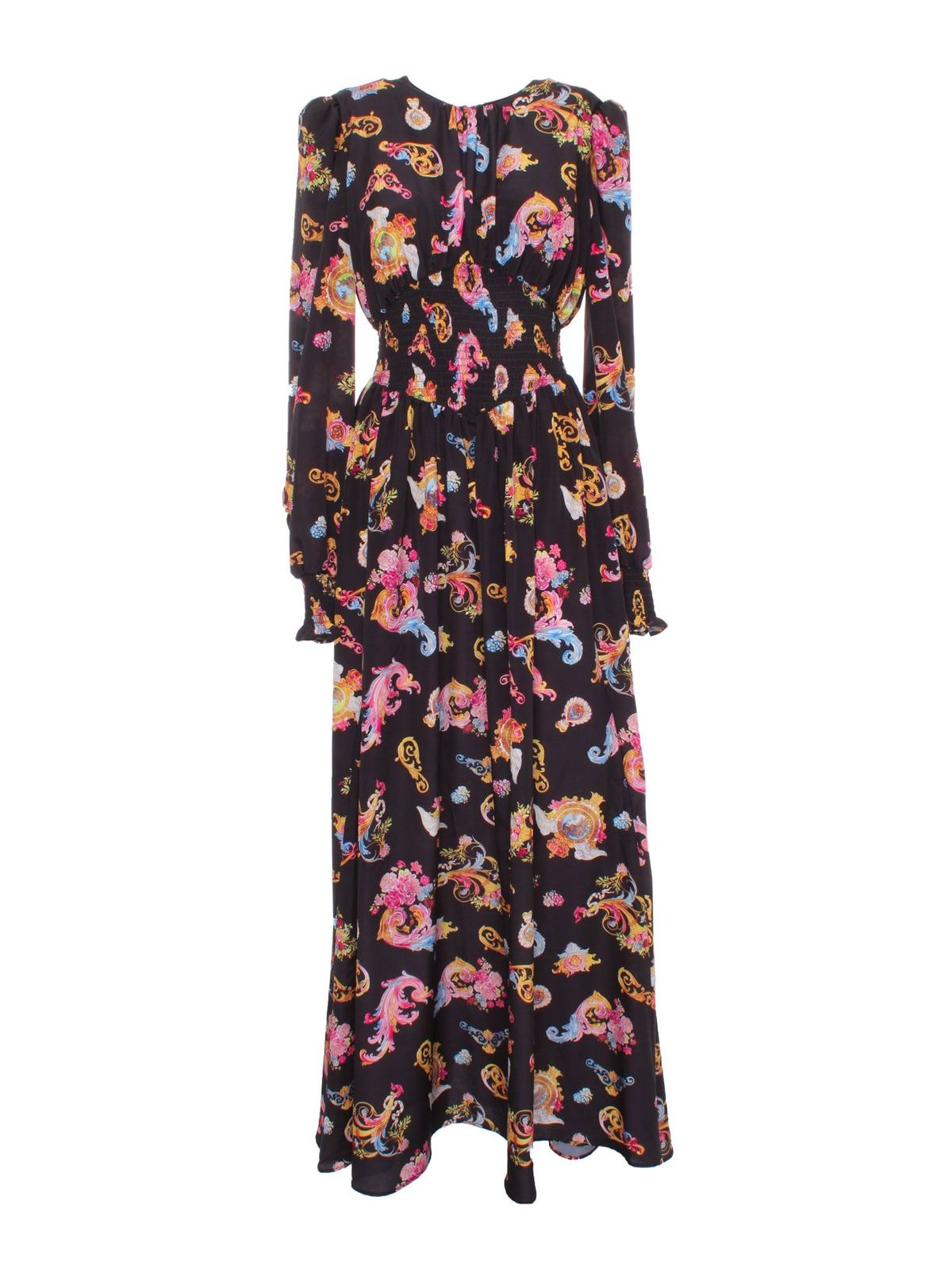 Versace Jeans Couture ROCOCO PRINTED LONG DRESS IN BLACK