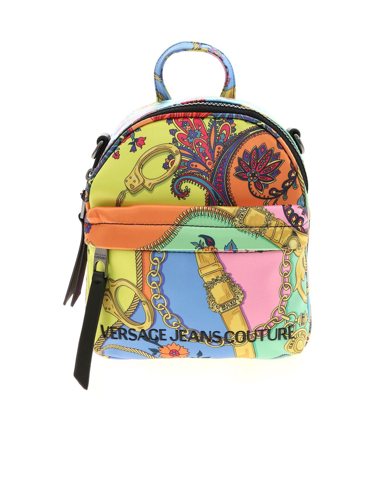 Versace Jeans Couture Branded Multicolor Backpack In Multicolour