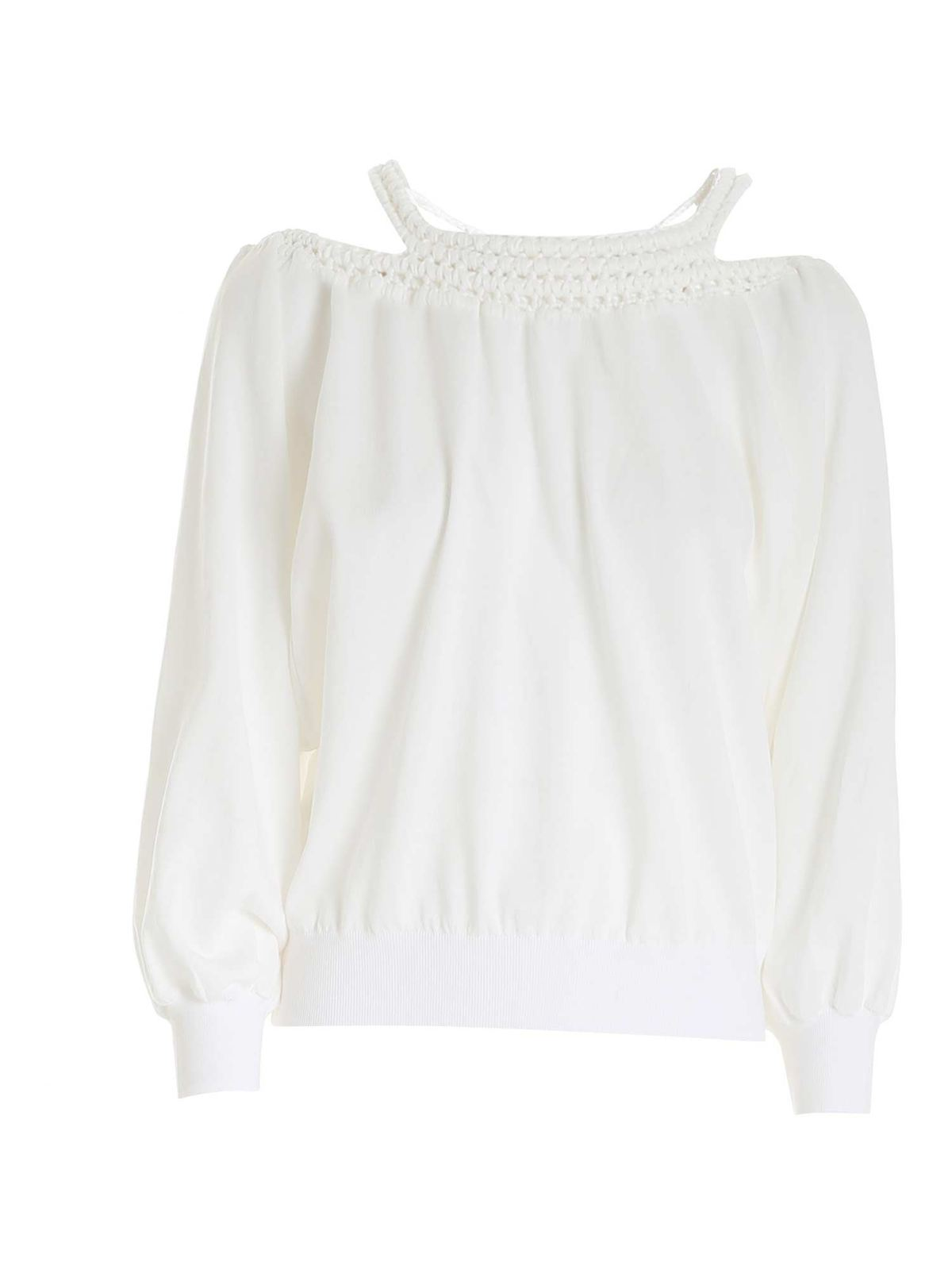 Alberta Ferretti Crocket Effect Detail Sweater In White