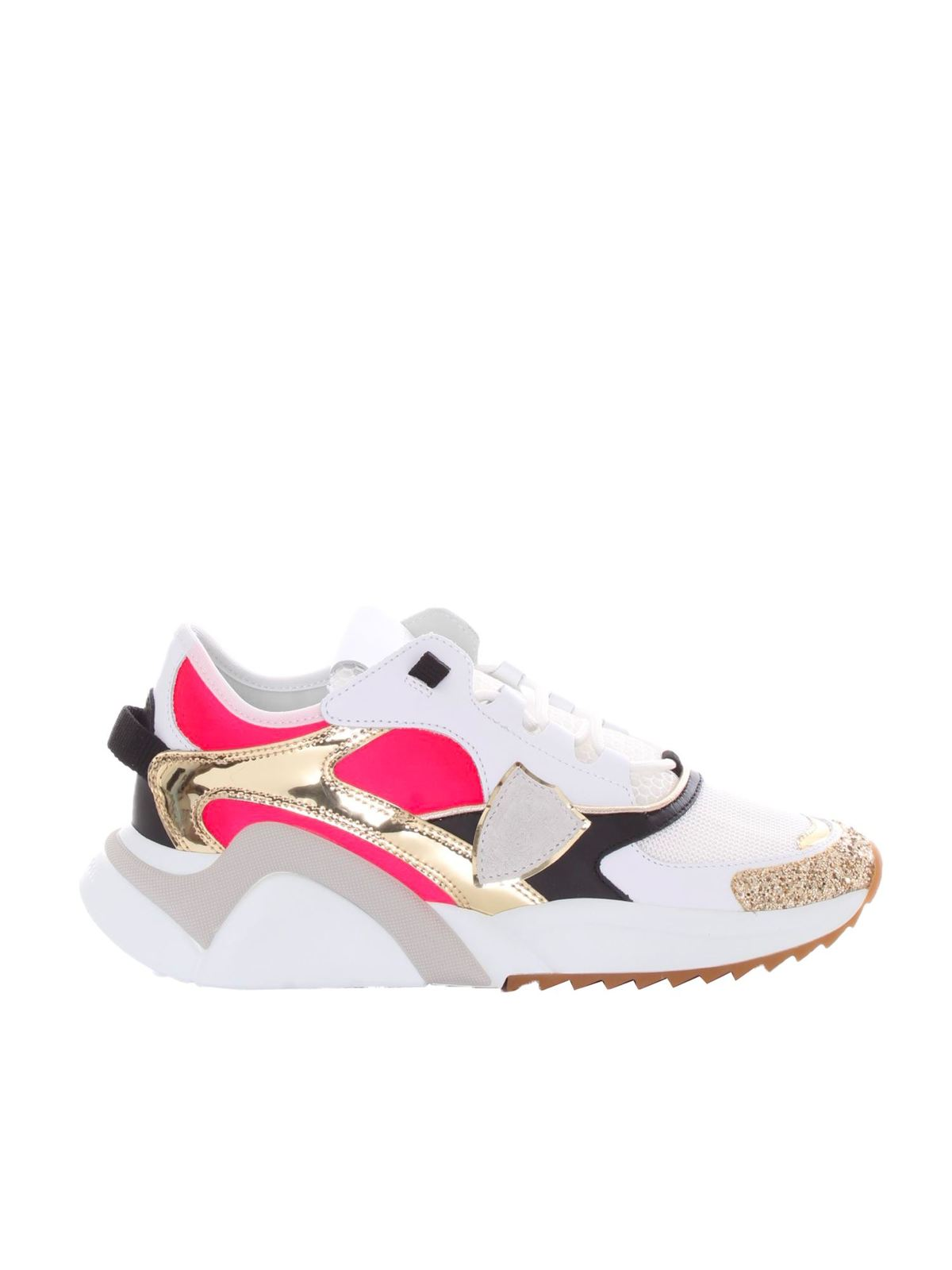 Philippe Model EZE LOW SNEAKERS IN WHITE AND FUCHSIA