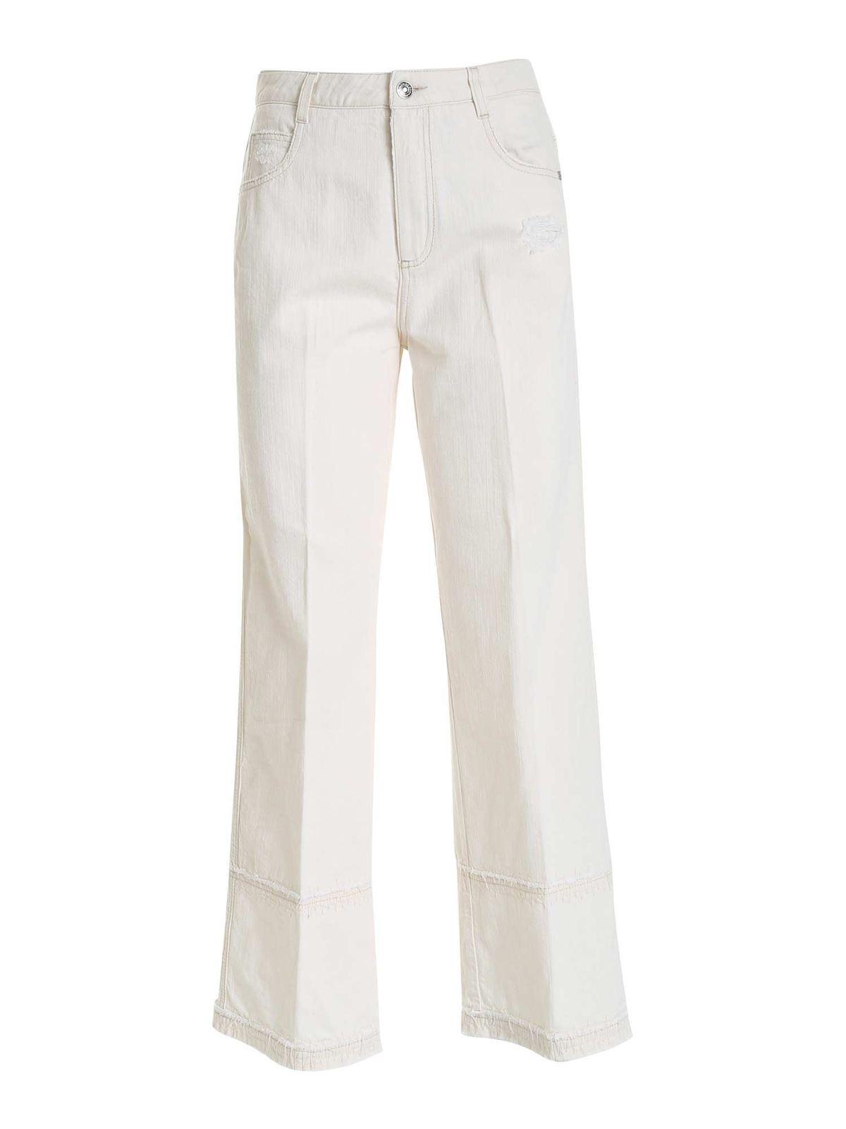 Ermanno Scervino Wide Leg Jeans In Cream Color