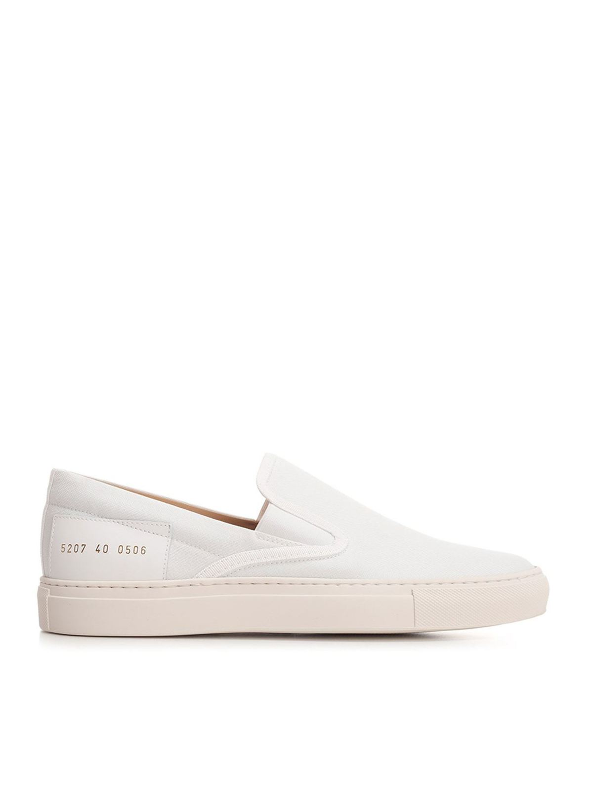 Common Projects CANVAS SLIP ON SNEAKERS IN WHITE
