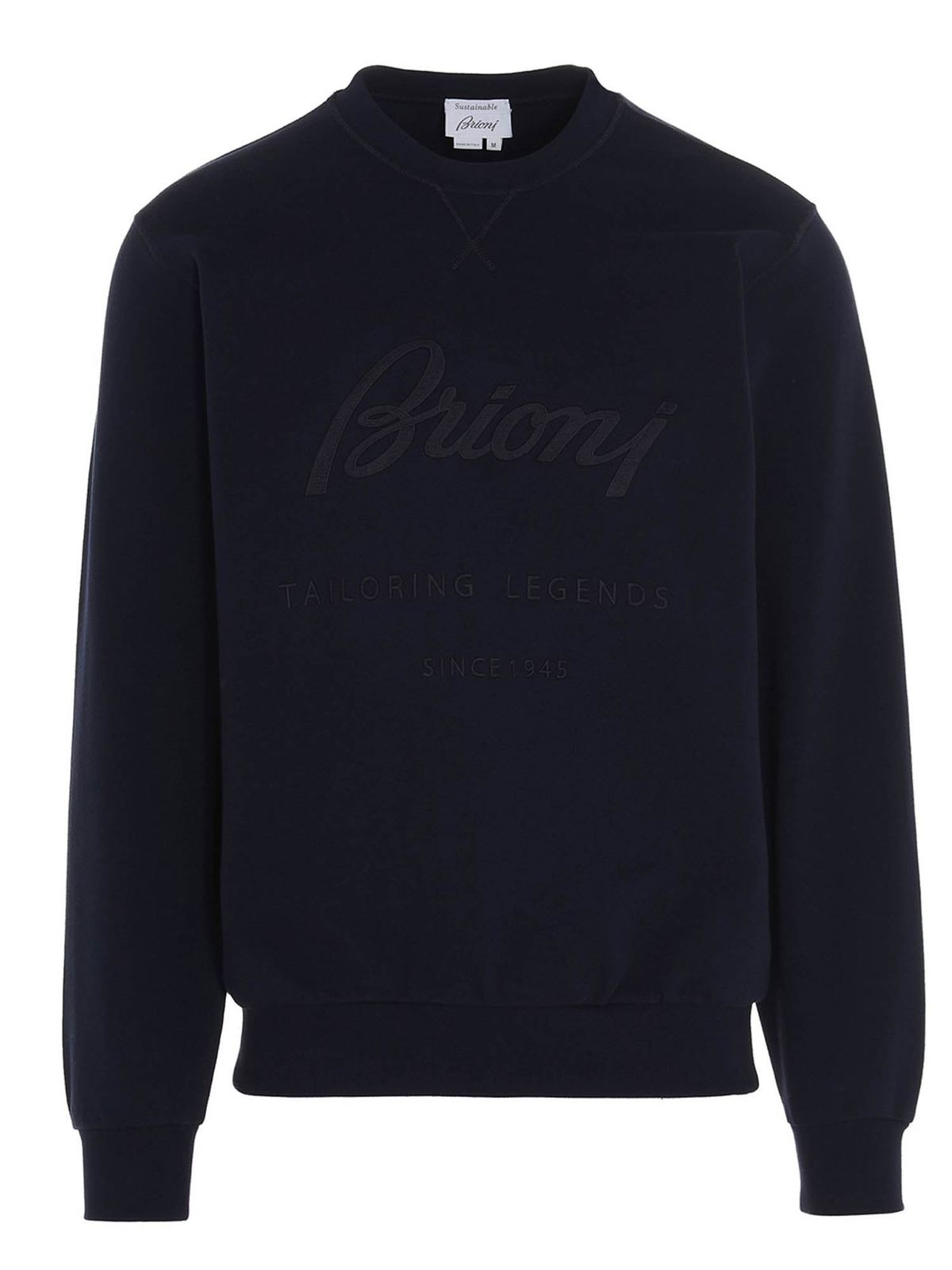 Brioni Clothing LOGO SWEATSHIRT EMBROIDERED IN BLUE