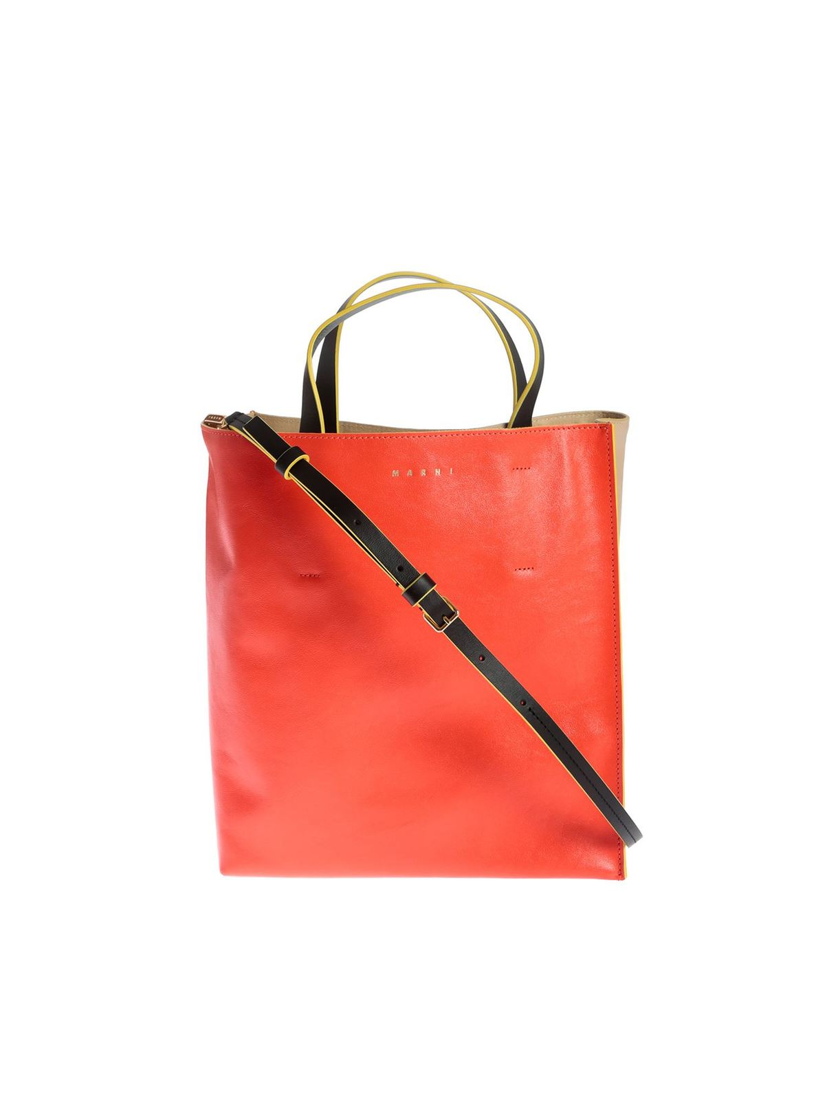 Marni Bags MUSEO SOFT BAG IN RED AND BEIGE
