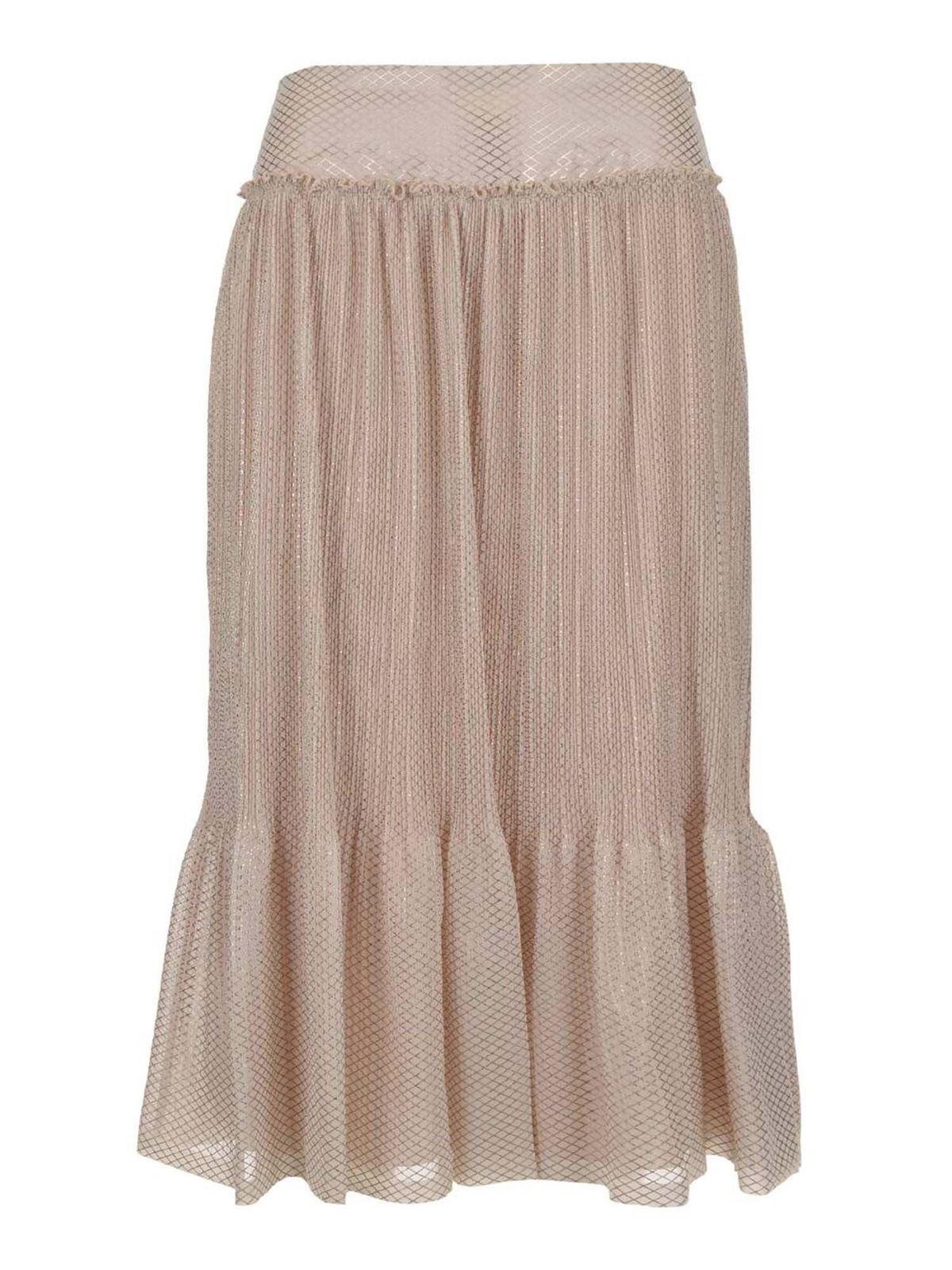 See By Chloé Pleated Midi Skirt In Beige