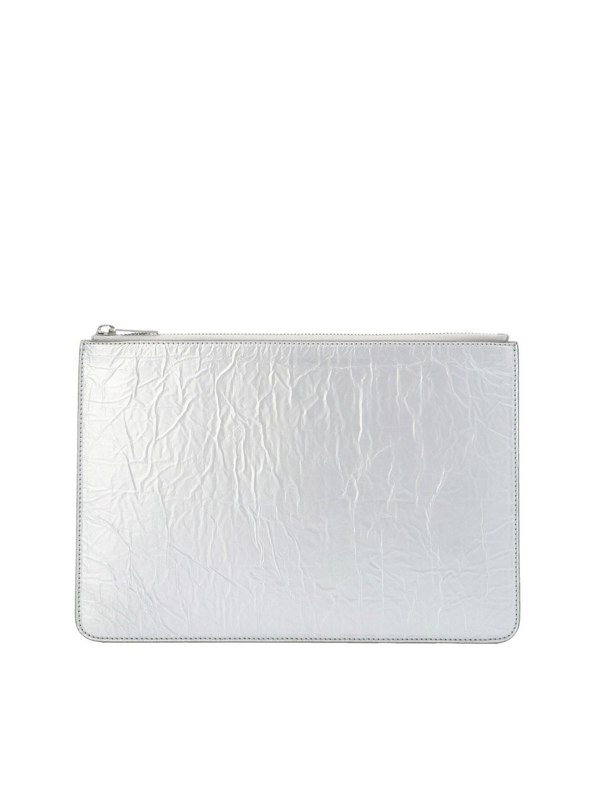 Maison Margiela Leathers STITCHING' CLUTCH IN SILVER COLOR