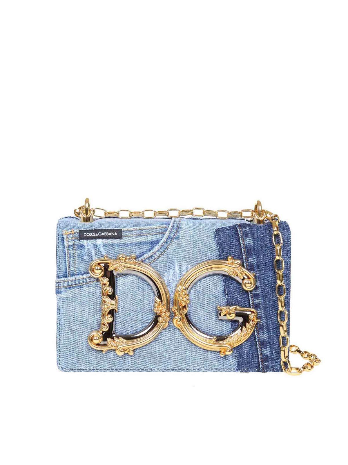 Dolce & Gabbana DG GIRLS DENIM AND LEATHER PATCHWORK BAG