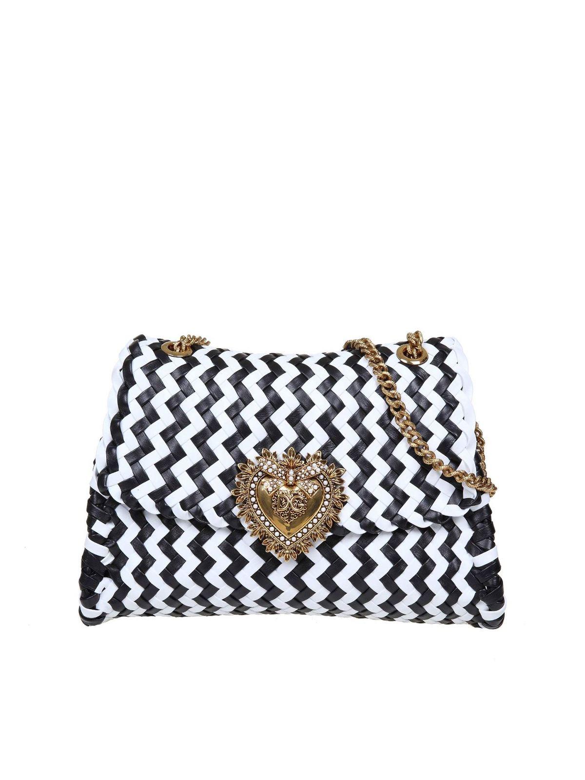 Dolce & Gabbana Devotion Shoulder Bag In Black And White