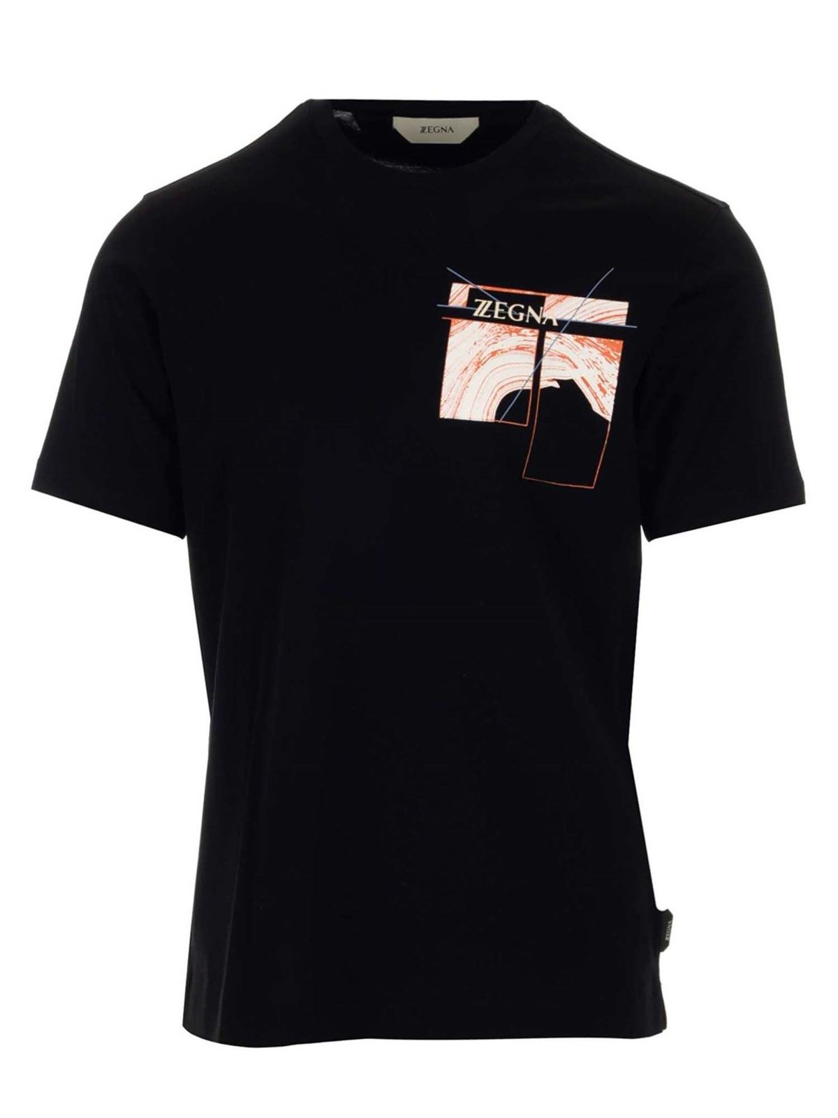 Z Zegna Cottons CONTRASTING PRINTS T-SHIRT IN BLACK
