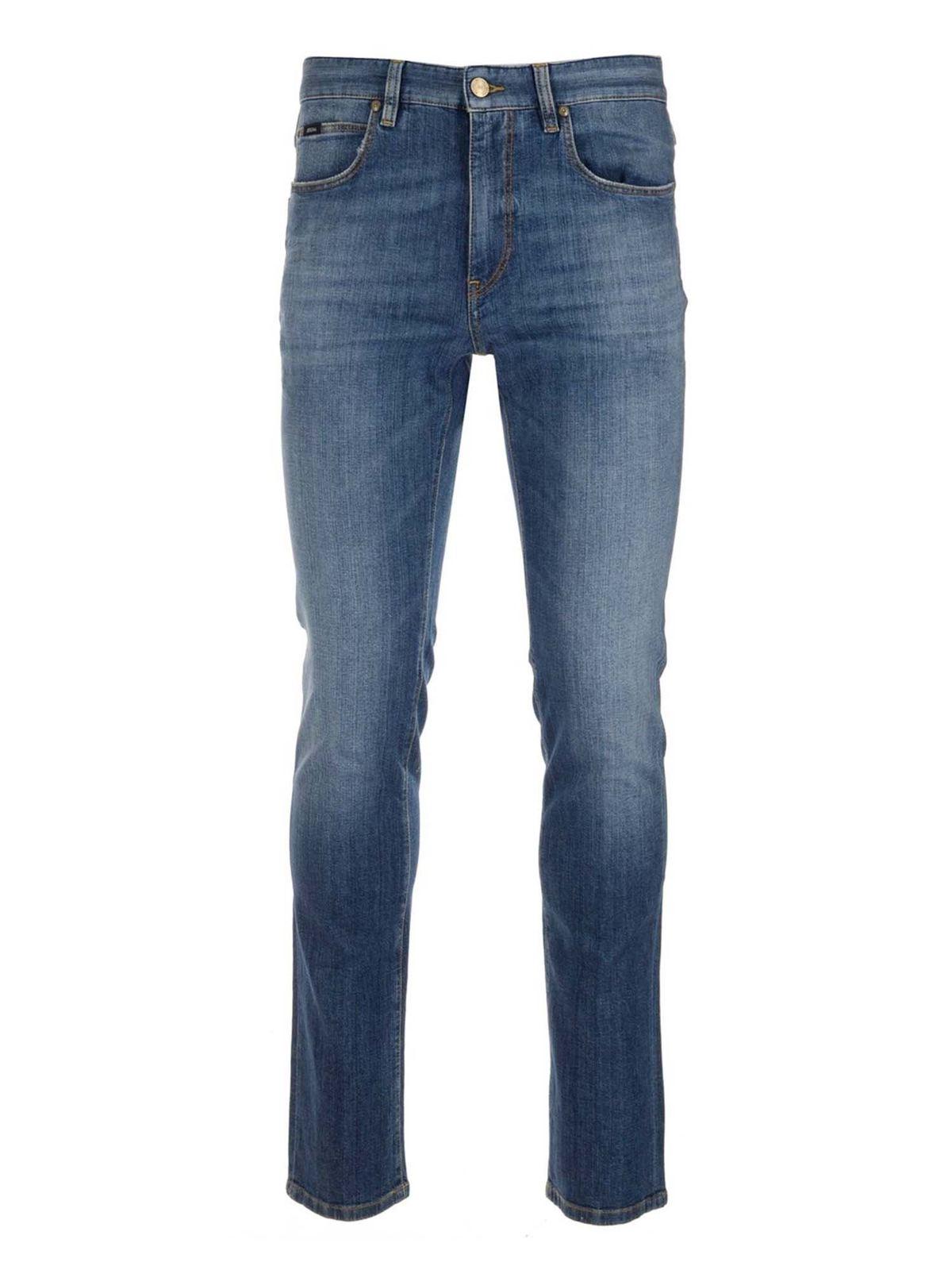 Z Zegna Faded Slim Fit Jean In Blue
