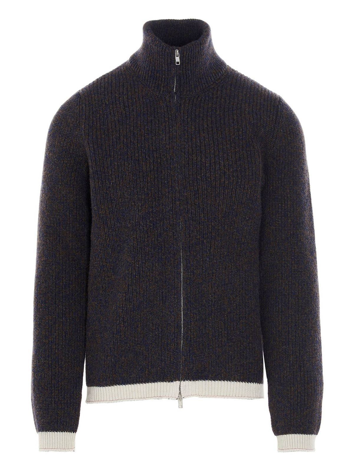 Maison Margiela Cardigans FULL ZIP CARDIGAN IN BLUE AND BROWN