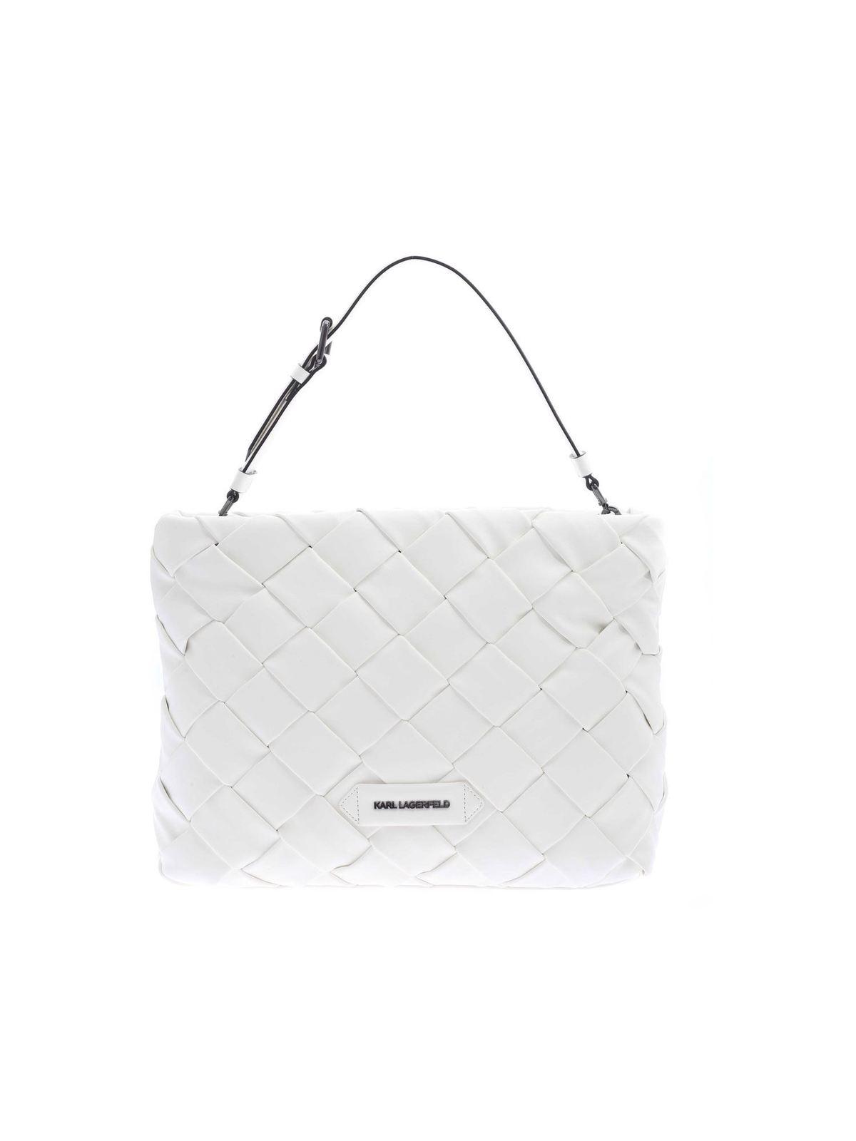 Karl Lagerfeld KKUSHION BRAID CLUTCH BAG IN WHITE