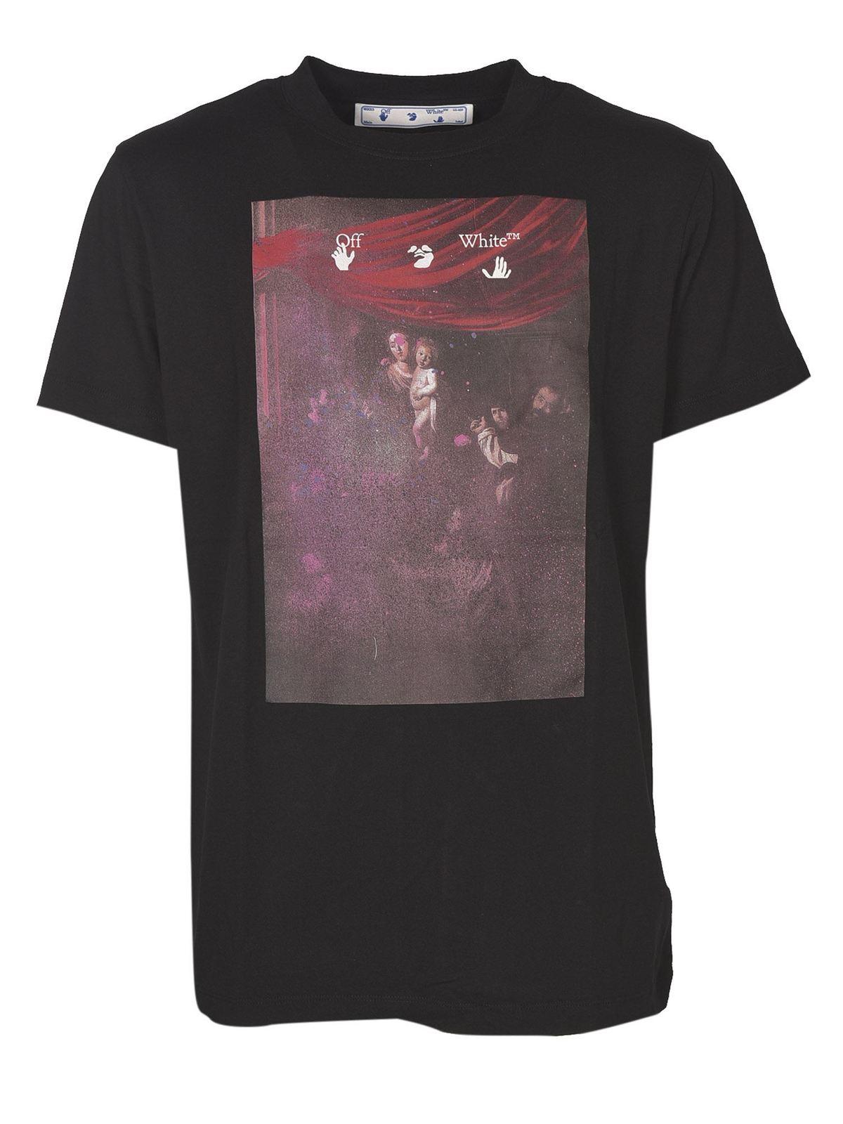Off-White T-shirts SPRAYED CARAVAGGIO T-SHIRT IN BLACK