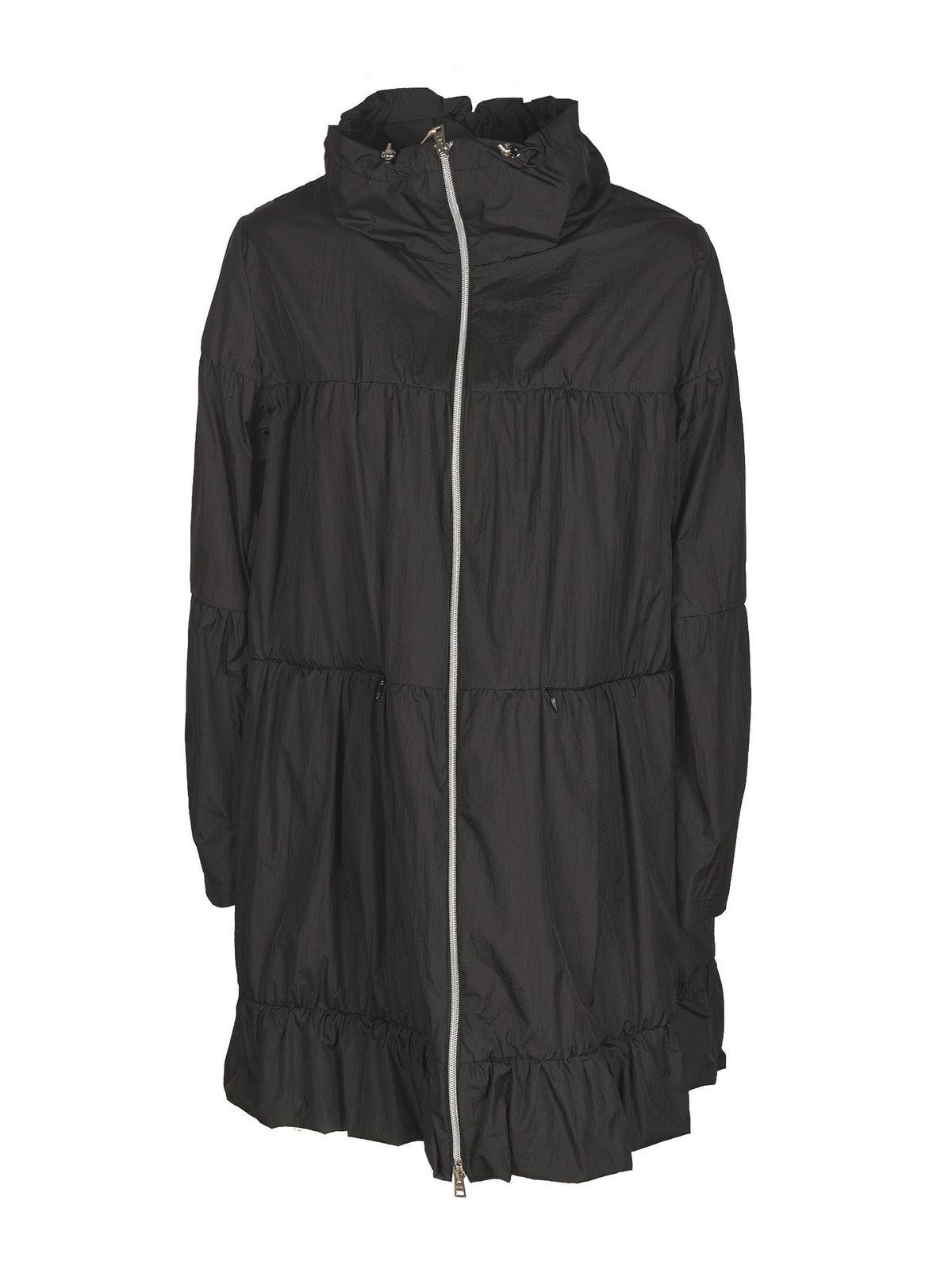 Herno Flounced Raincoat In Black