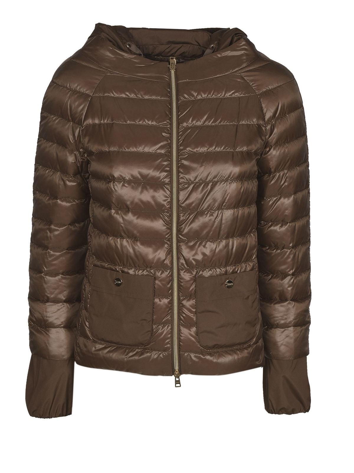 Herno Pockets Padded Jacket In Brown