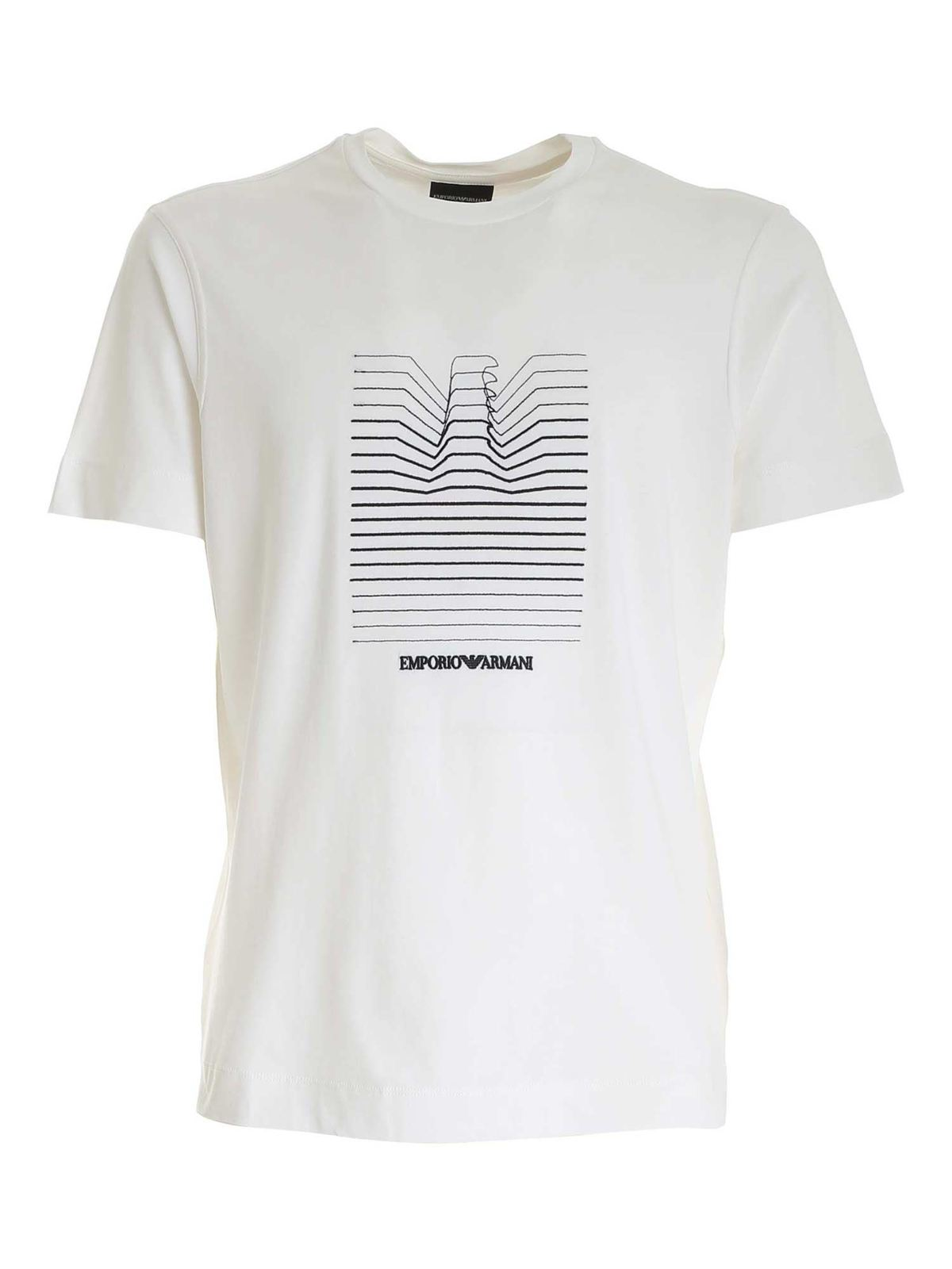 Emporio Armani CONTRASTING EMBROIDERY T-SHIRT IN WHITE