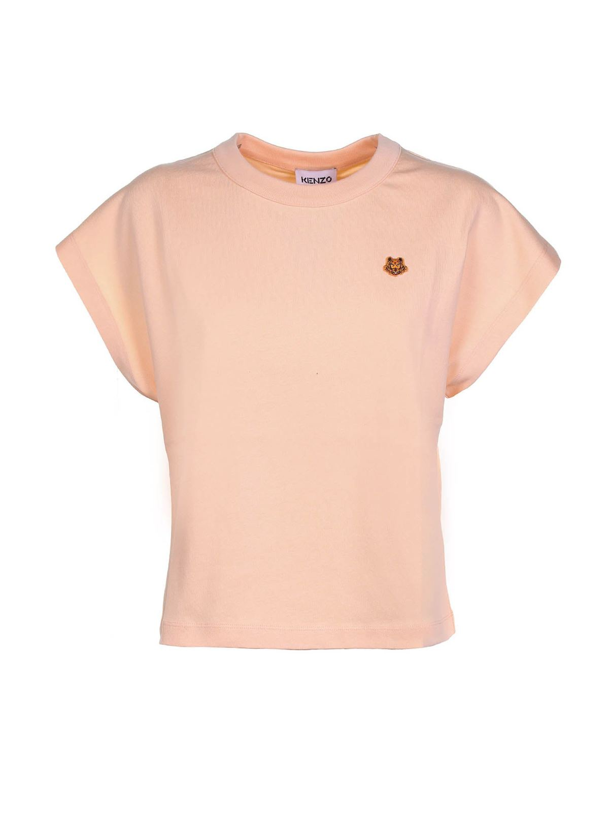 Kenzo TIGER CREST BOXY T-SHIRT IN PEACH COLOR