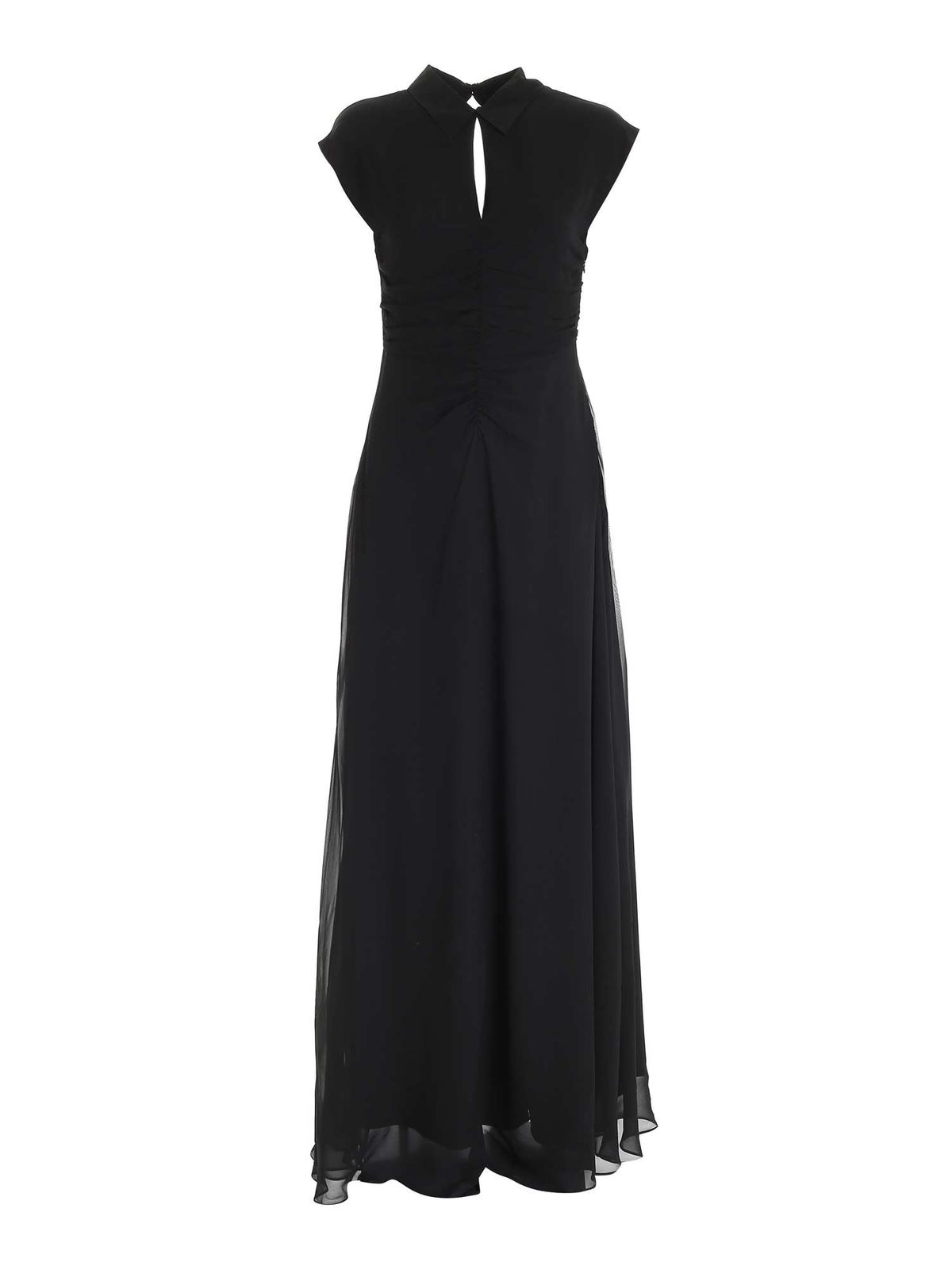 Karl Lagerfeld Cut Out Detail Long Dress In Black