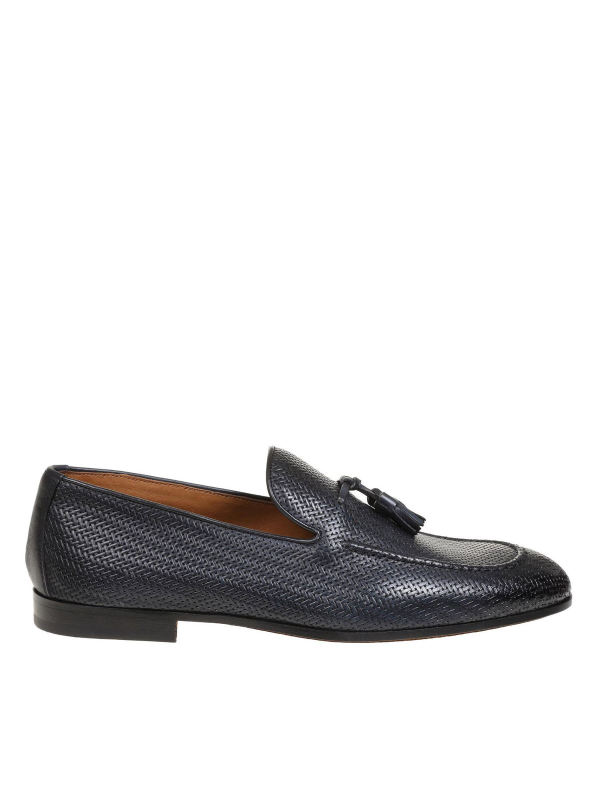 Doucal's WOVEN LEATHER LOAFERS IN BLUE