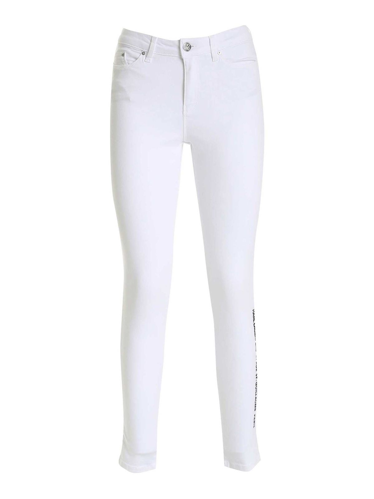 Karl Lagerfeld Logo Embroidery Pants In White